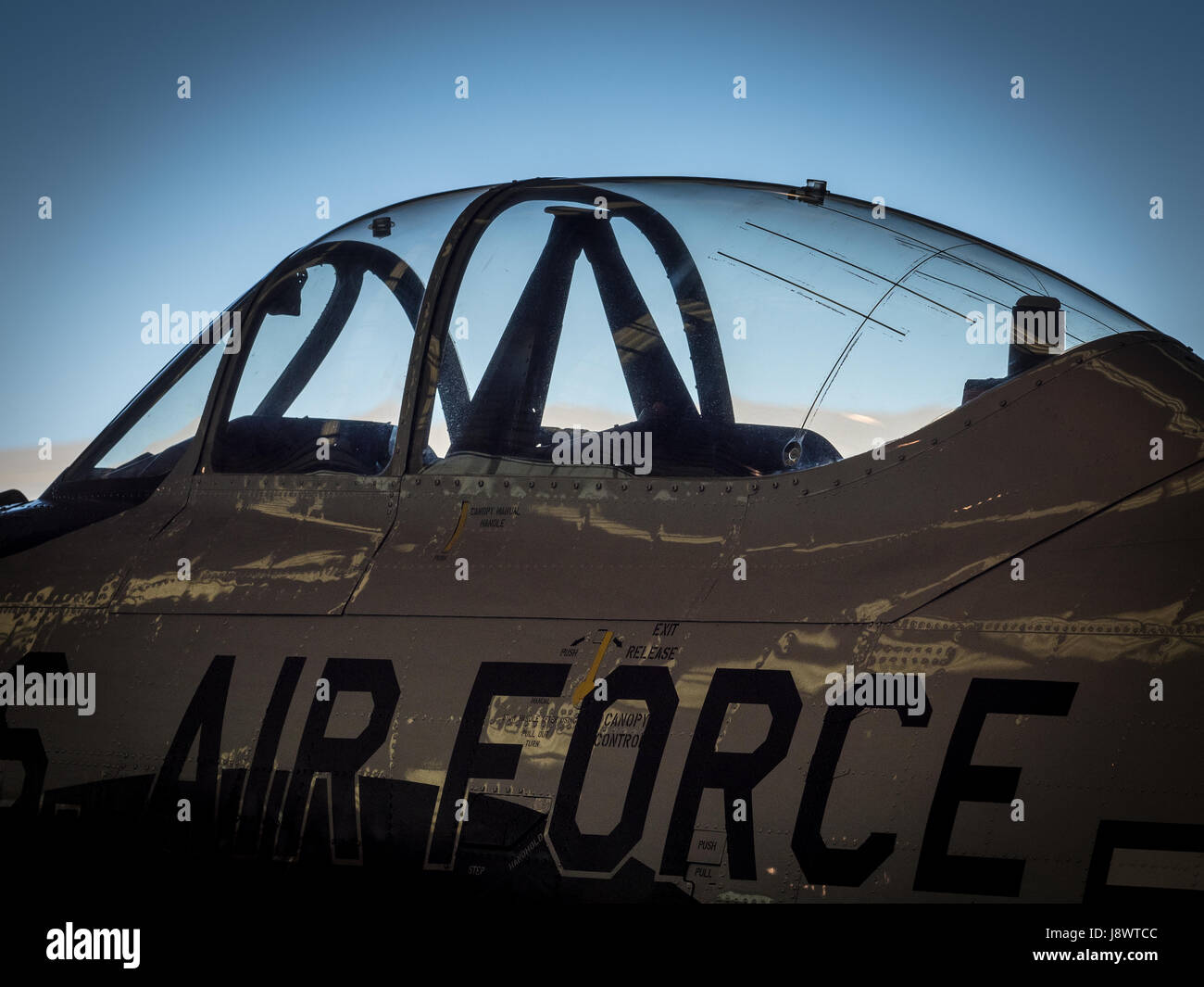 Stylised detail of an air force jet cockpit - Stock Image