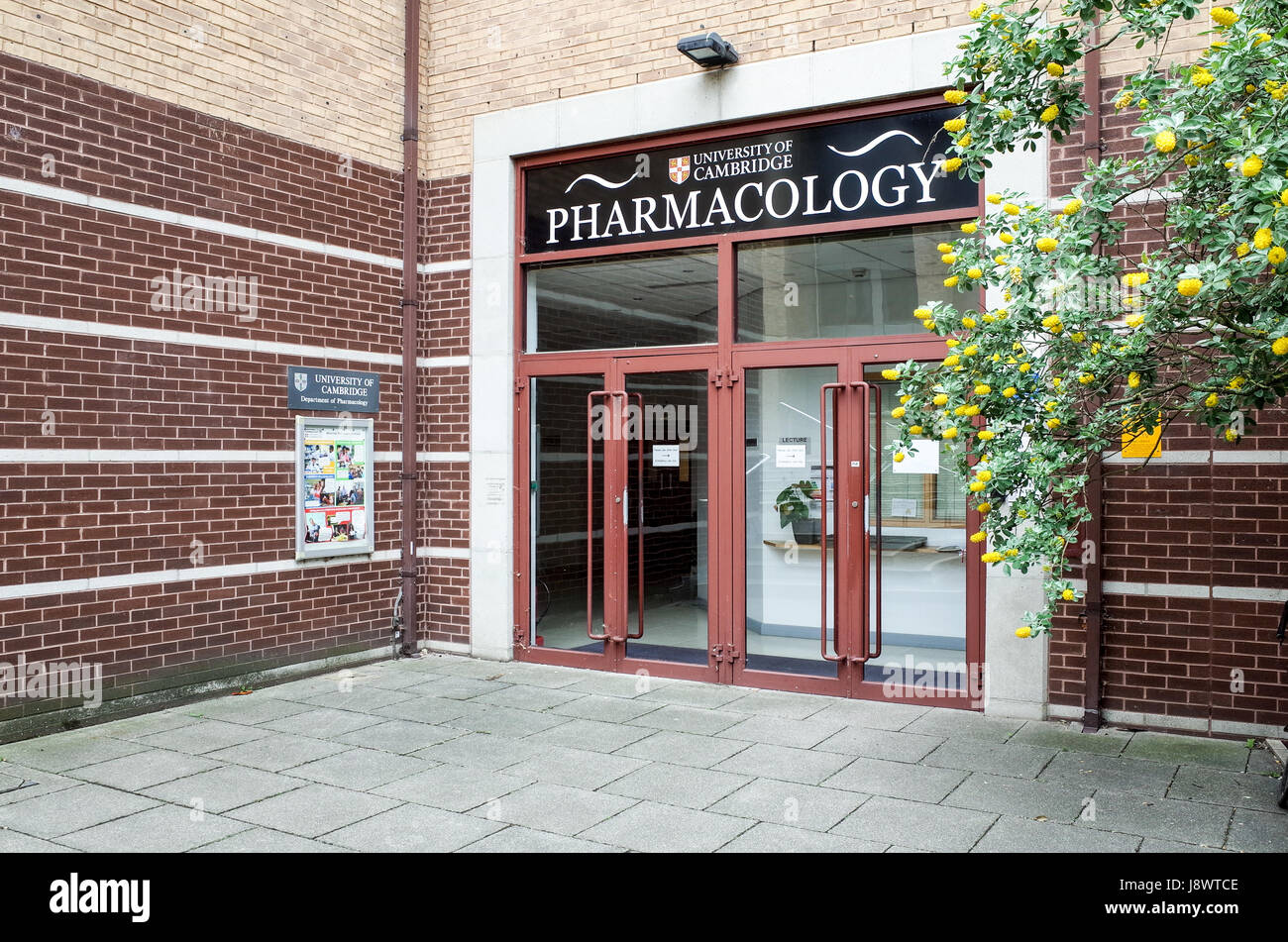 Entrance to the Department of Pharmacology at the University of Cambridge, UK - Stock Image