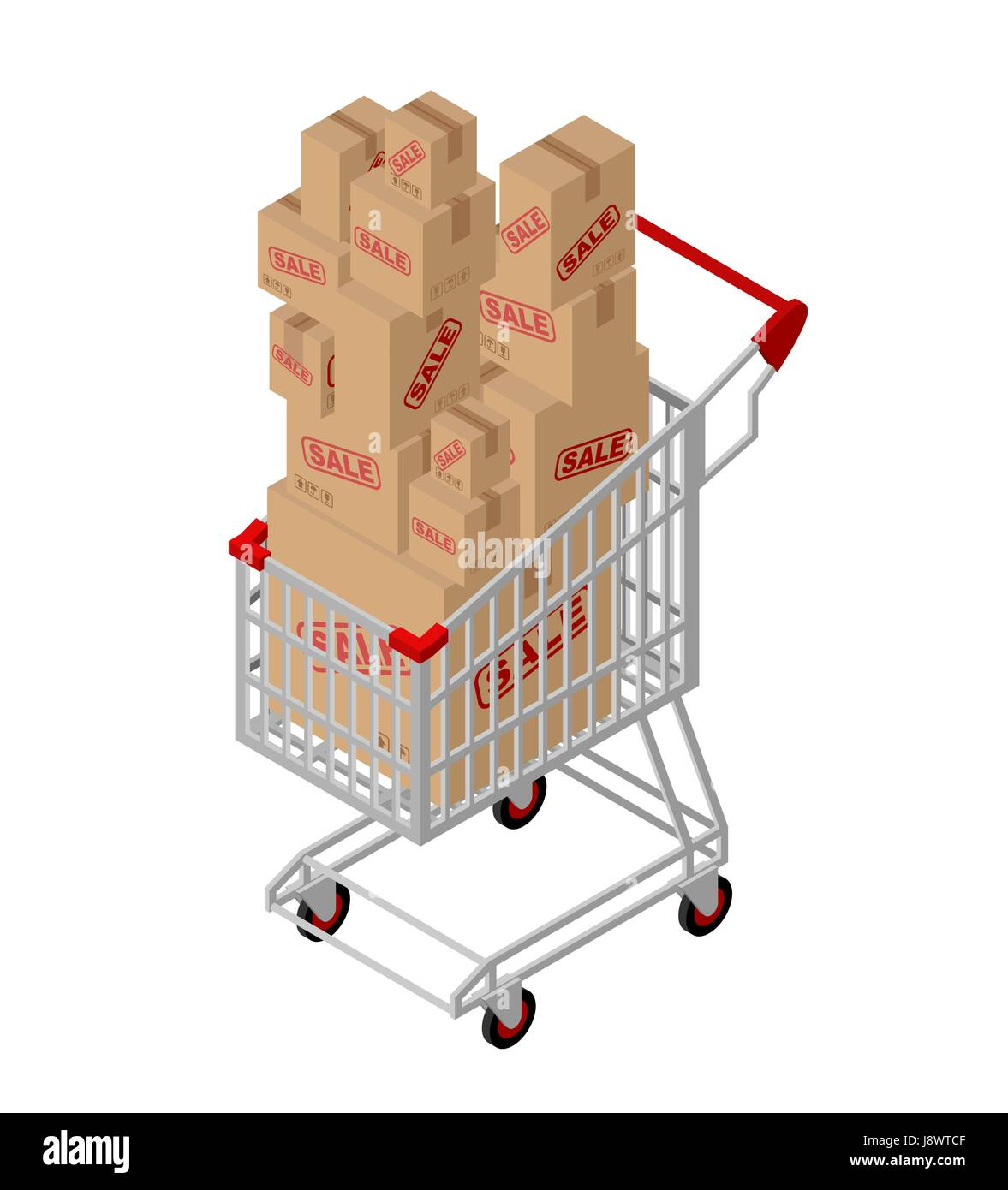 Shopping cart and box sale isometric. Shopping at supermarket. Many boxes. Large number of purchases. Discounts - Stock Vector