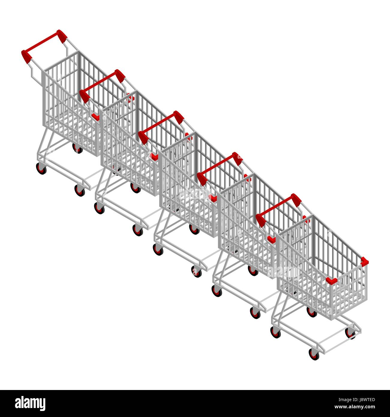 Row of shopping carts. Many shopping trolley isometrics - Stock Vector