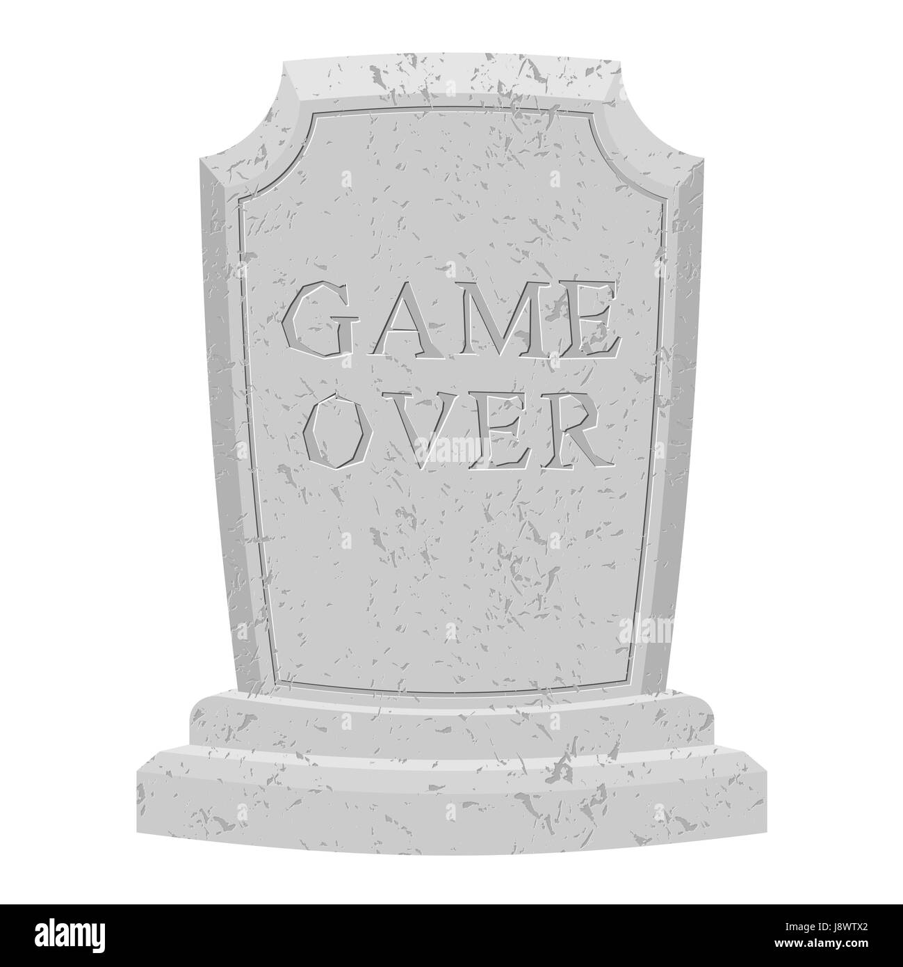 Game over tomb. Carved stone end of game. text tombstone. RIP old cracked. Death is end of life. final inscription - Stock Vector