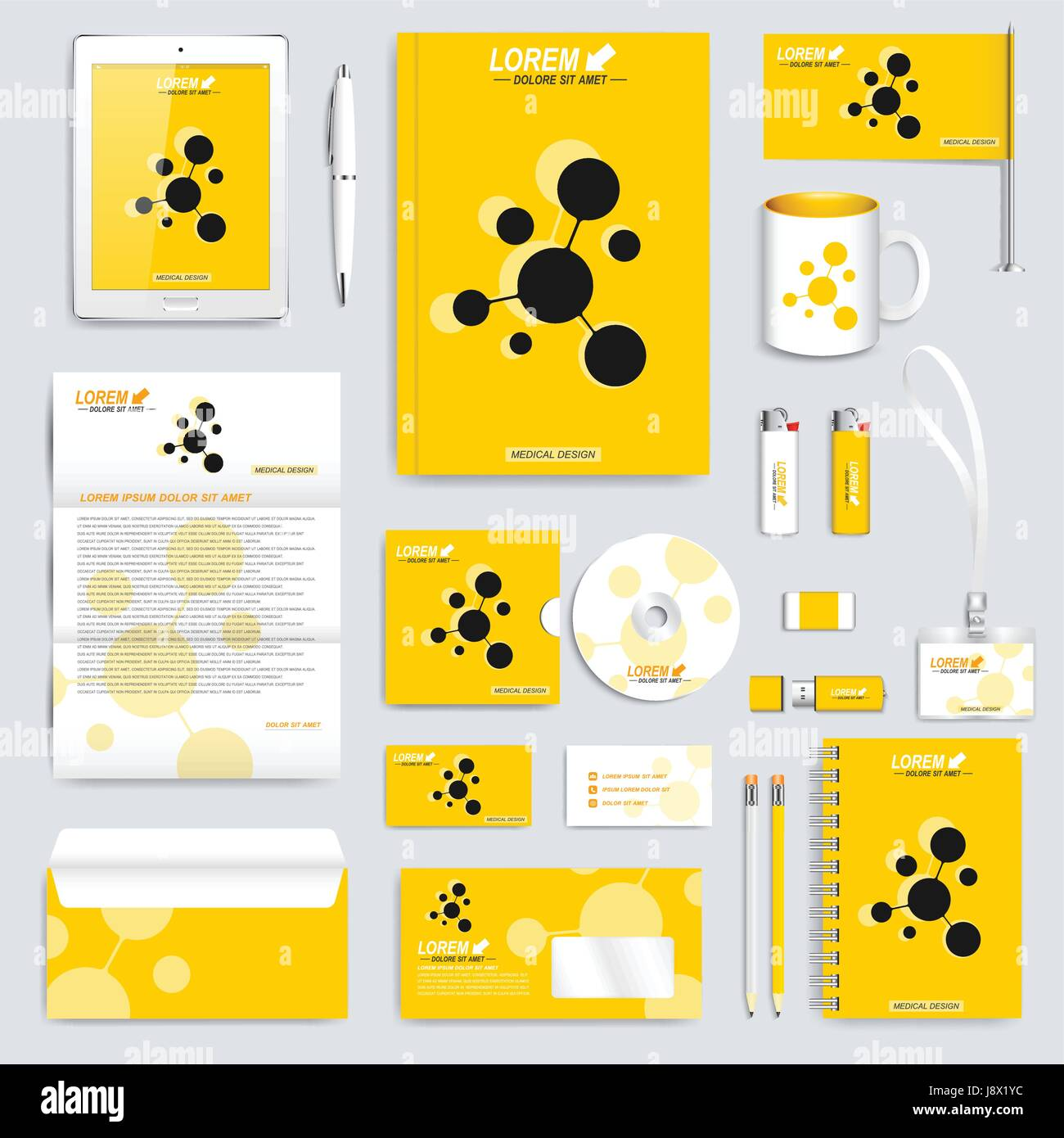 yellow set of vector corporate identity template modern business