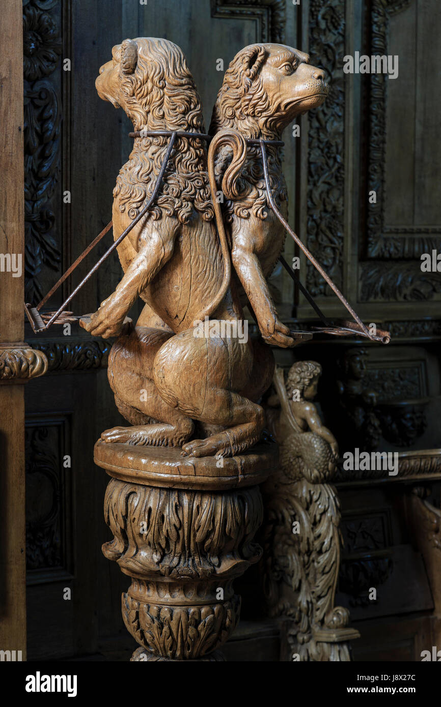 France, Creuse, Moutier-d'Ahun, Moutier d'Ahun abbey, the carved woodwork in the church, the lectern - Stock Image