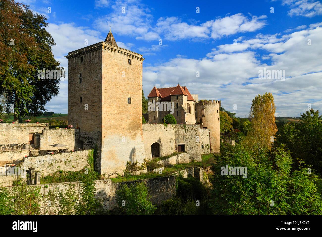 France, Saone et Loire, Couches, Couches castle - Stock Image