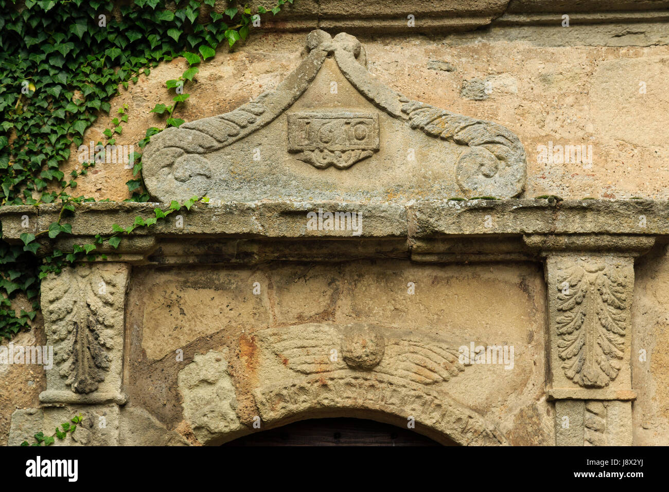 France, Saone et Loire, Couches, door of the Templier House - Stock Image