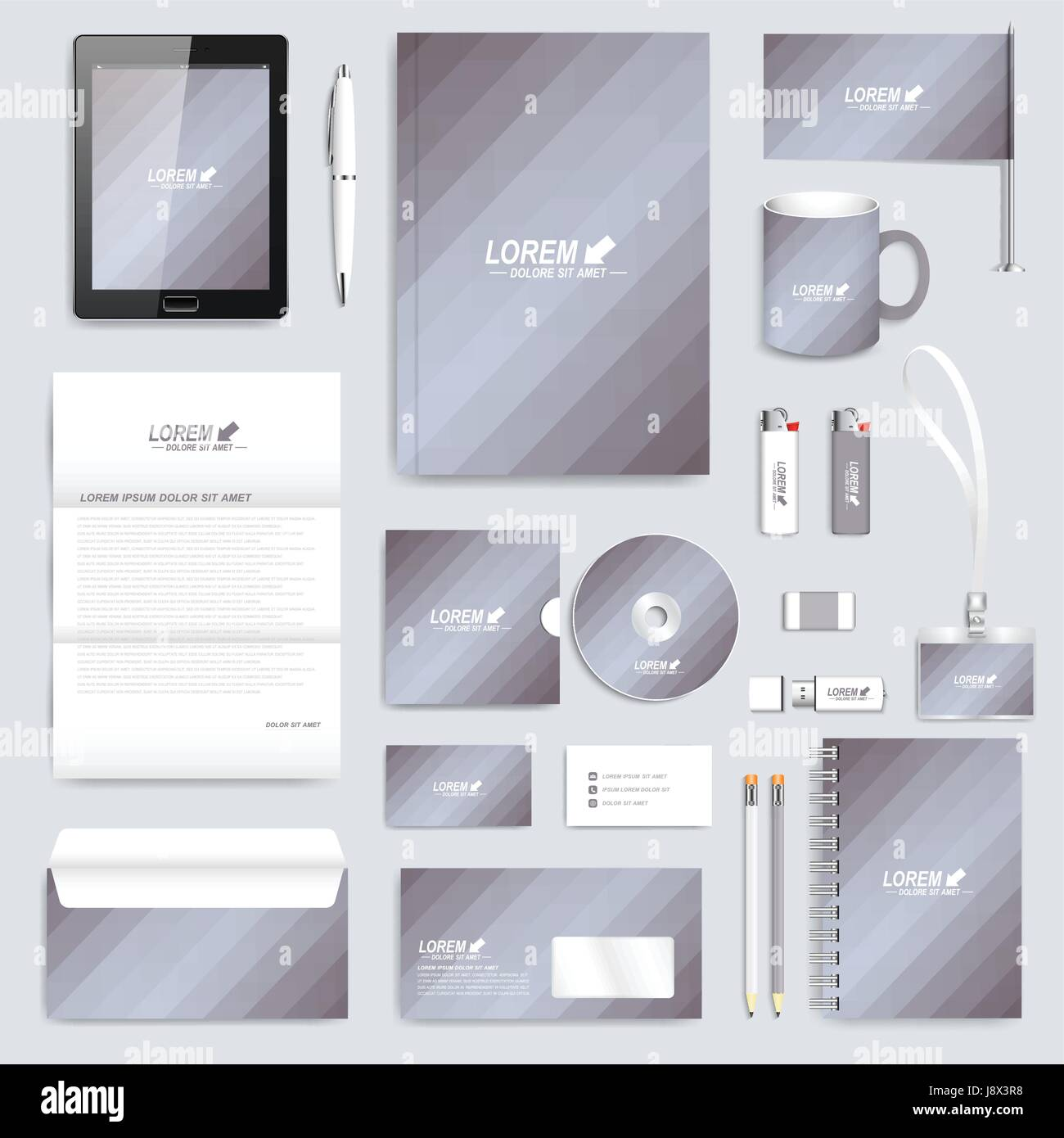 Grey set of vector corporate identity template modern business grey set of vector corporate identity template modern business stationery mock up background with gold triangles branding design cheaphphosting Gallery