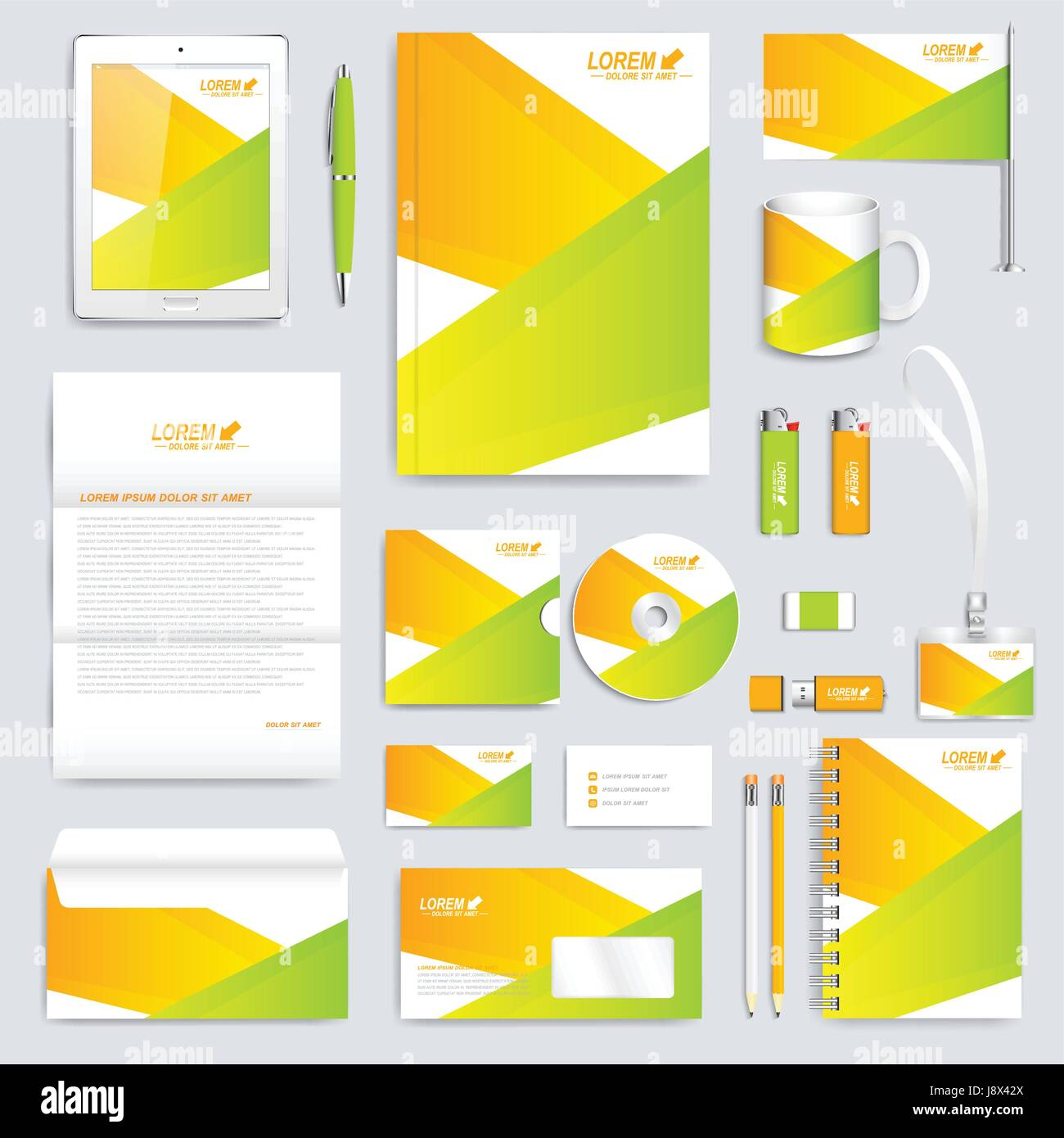 Colorful set of vector corporate identity template. Modern business stationery mock-up. Background with color lines - Stock Image
