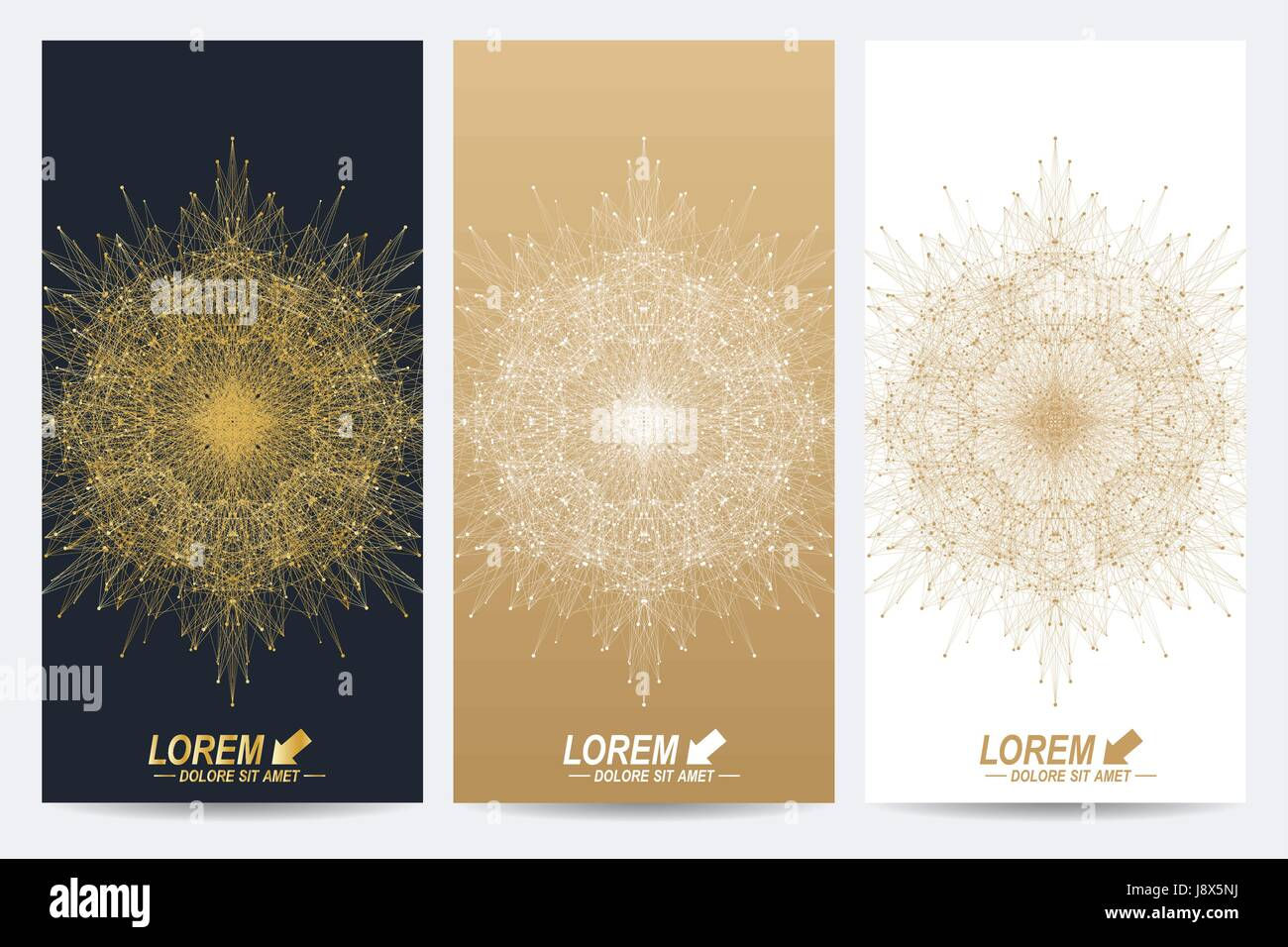 Modern set of vector flyers. Molecule and communication background. Geometric abstract round golden forms. Connected - Stock Vector