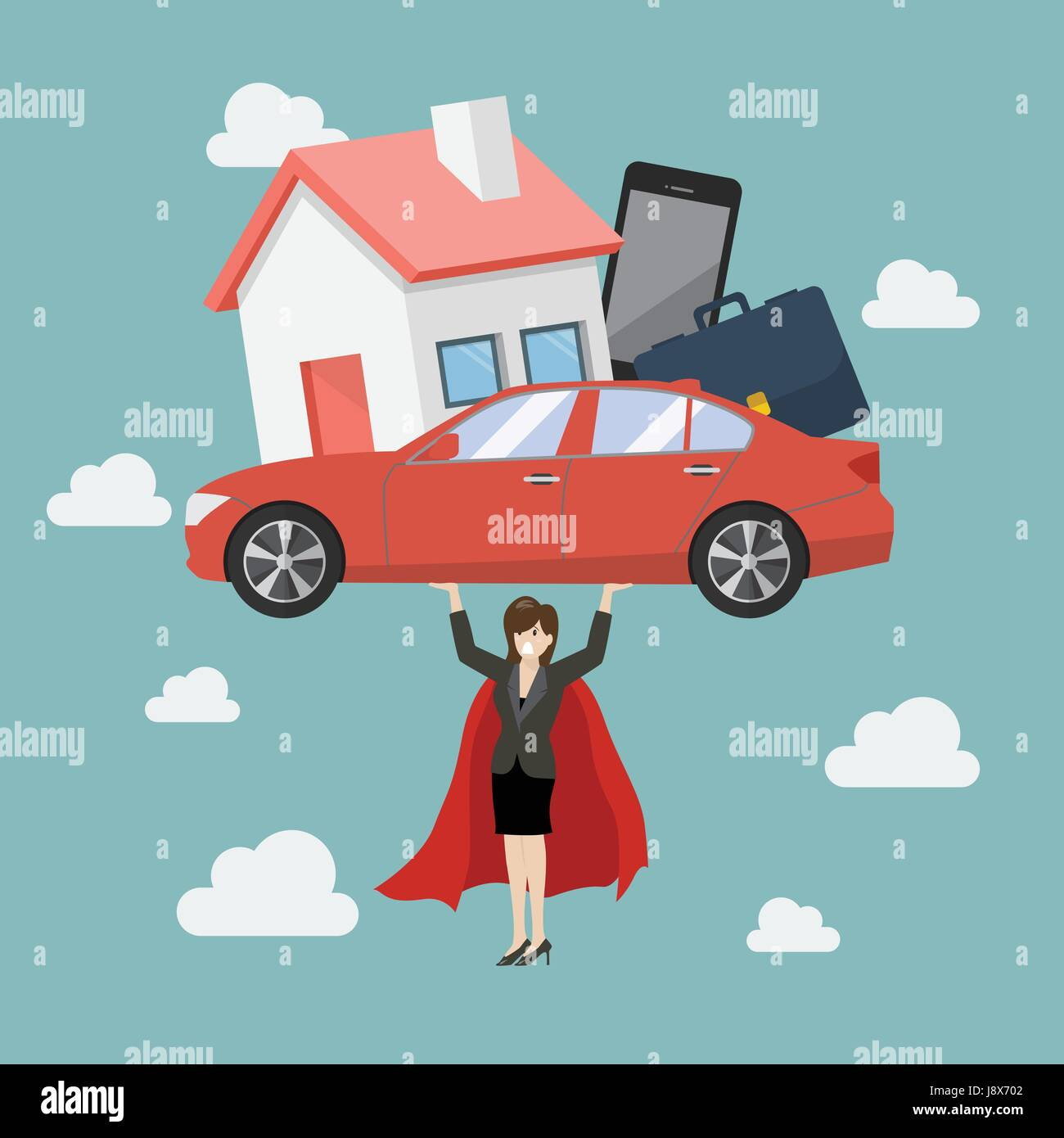 Business woman superhero carrying debt burden. Business concept - Stock Vector