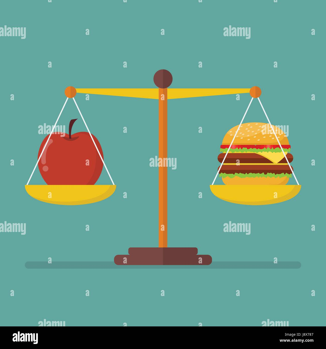 Apple and hamburger on scales. healthy lifestyle concept - Stock Vector