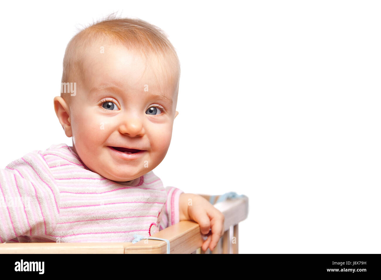 toddler in crib Stock Photo