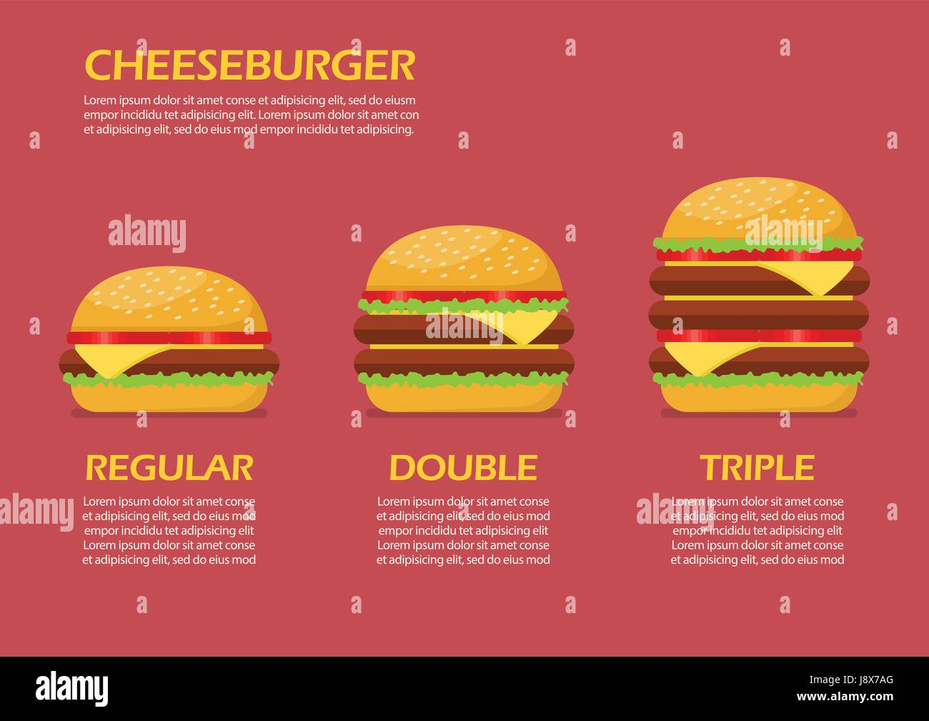 Three hamburgers set infographic. From simple hamburger to double and triple cheeseburger with tomato Stock Vector