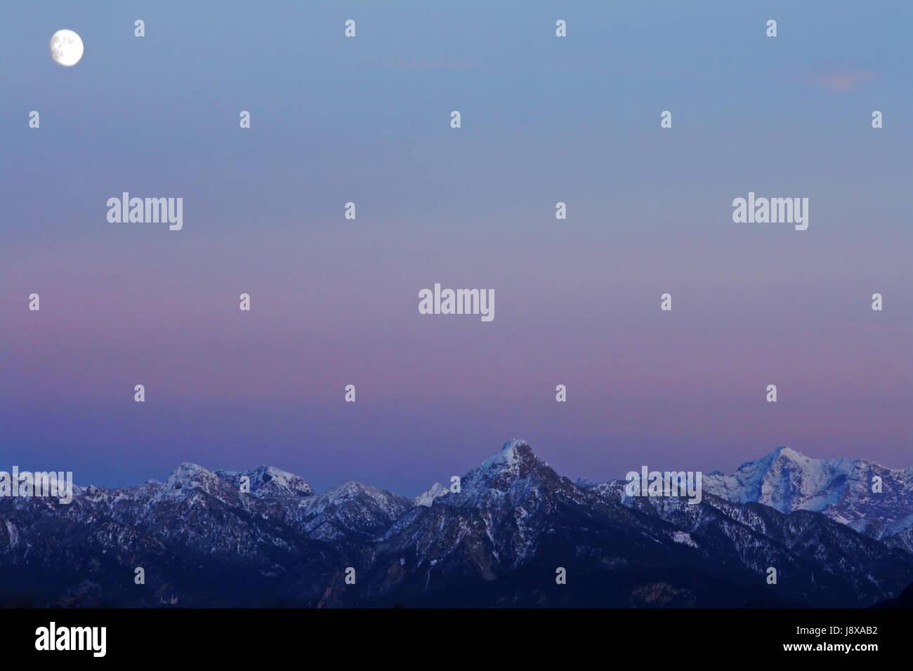 mountains, alps, moon, evening, snow, mountain, wait, waiting, blue, shine, - Stock Image