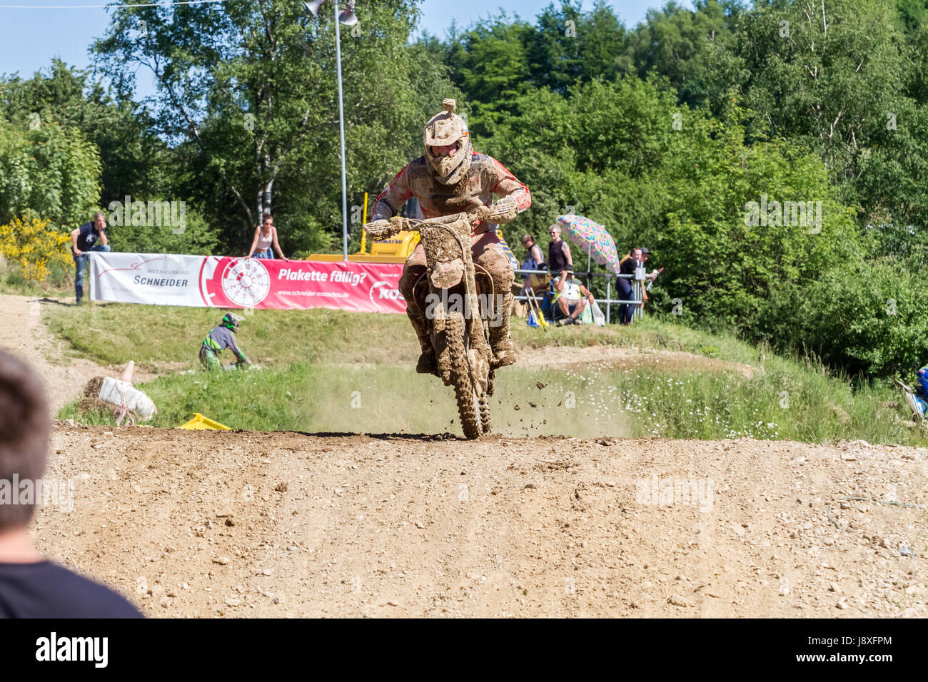 Motocross Kleinhau - 2nd heat Junior DAM Meisterschaft - 27th of May 2017 - Kleinhau, Hürtgen, North Rhine - Stock Image