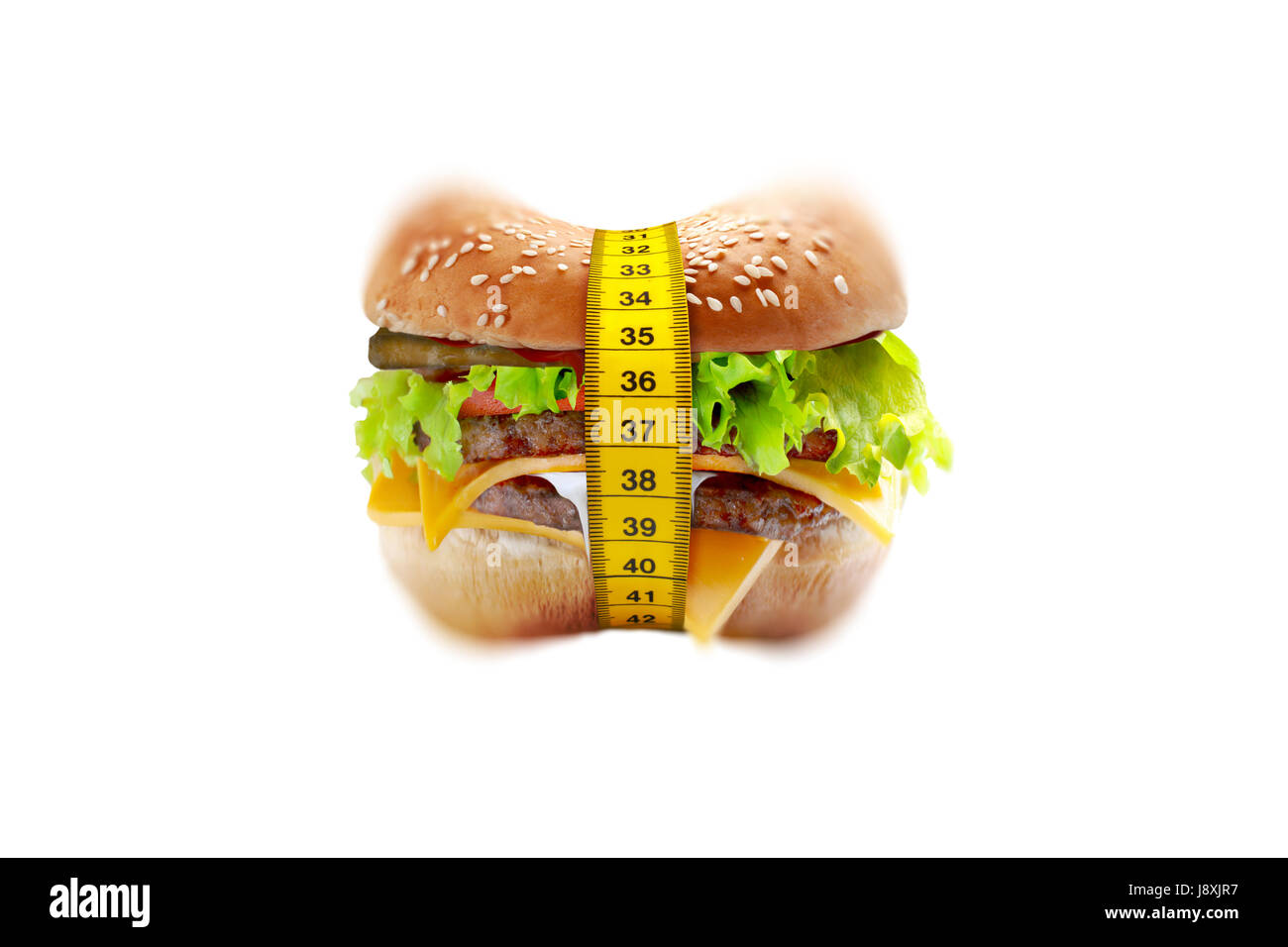 big cheeseburger with meter diet concept - Stock Image