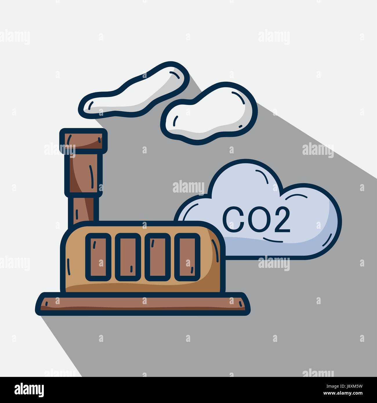 factory with co2 pollution and contaminating of planet - Stock Image