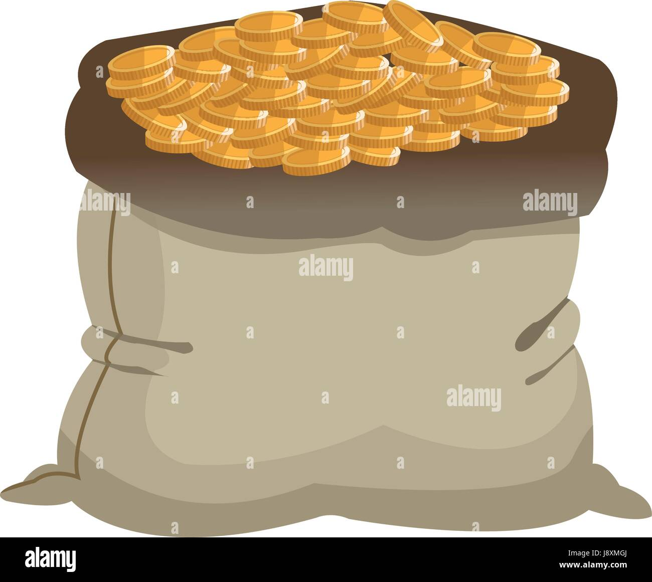 open money bag golden coins currency icon - Stock Vector