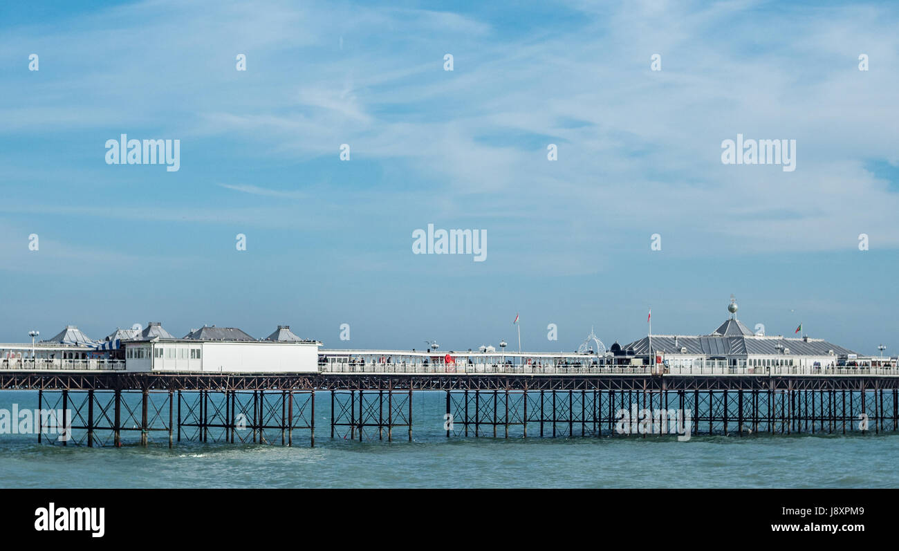 View of the Victorian Brighton Pier, also known as the Palace Pier - Stock Image