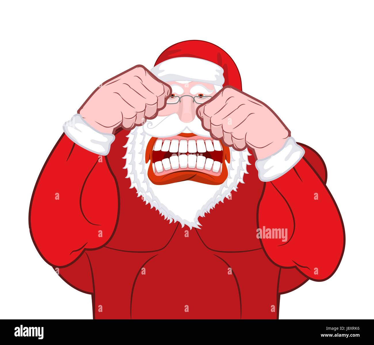 Santa Claus fights. Father Christmas beats fists. Old man knuckle beat. New Year Fight - Stock Vector