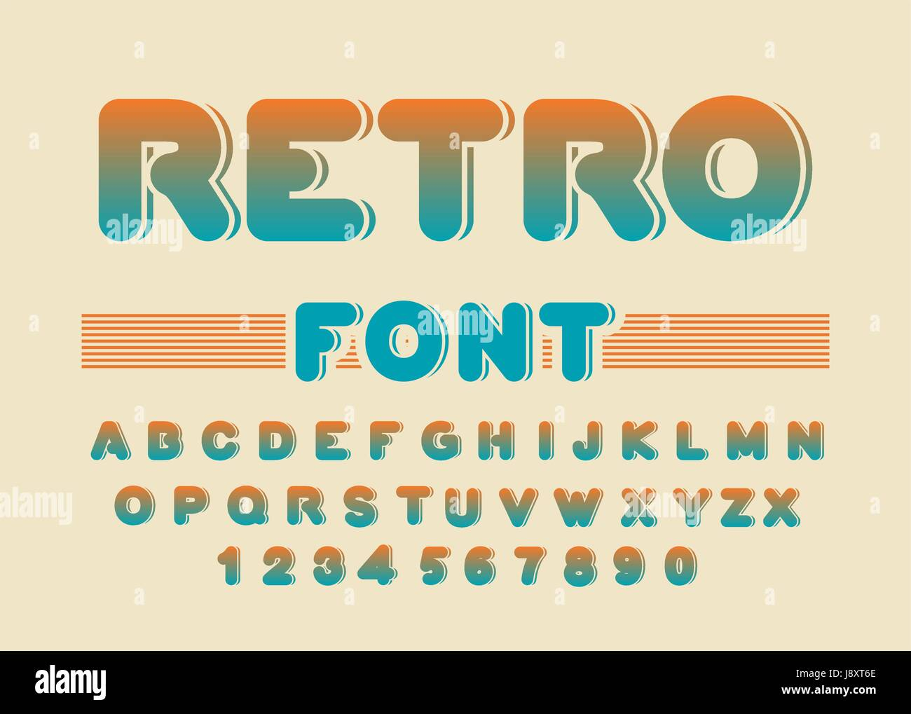 Retro Font Vintage Rounded Alphabet Disco Letters From 80s Hipster Lettring Old Typography