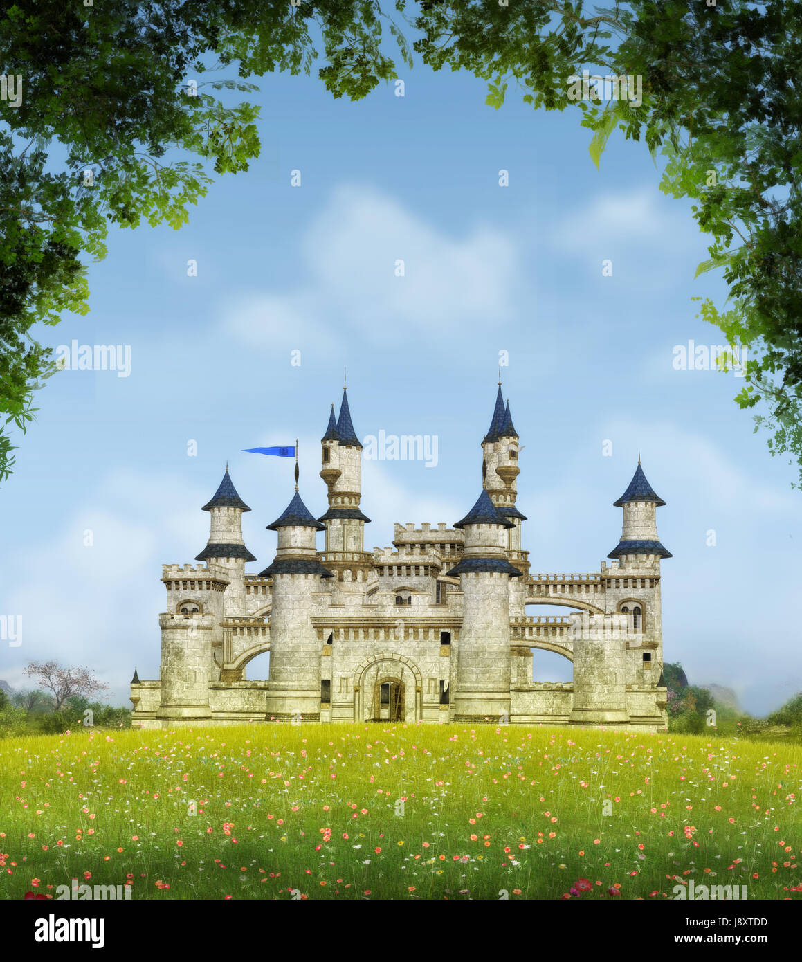 3D rendering of a romantic fairytale castle in an idyllic landscape framed by trees. - Stock Image