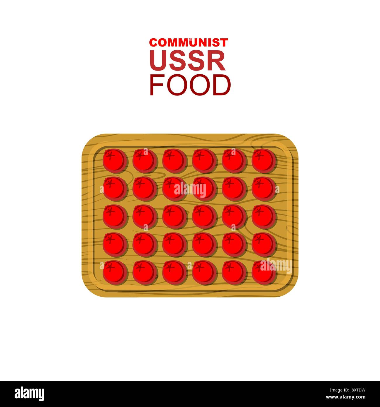 Dumplings on a wooden cutting board. Communist red dumplings. Food from USSR. Vector illustration of allegory. - Stock Vector