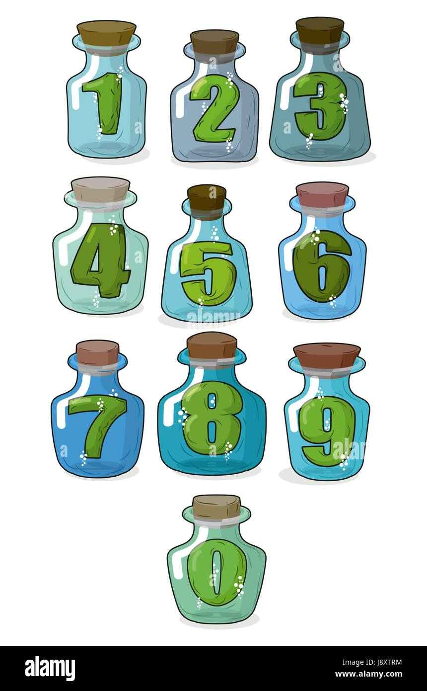 Figures in a retro bottle laboratory for experimentation and research. Numbers in magical banks with a wooden stopper. - Stock Image