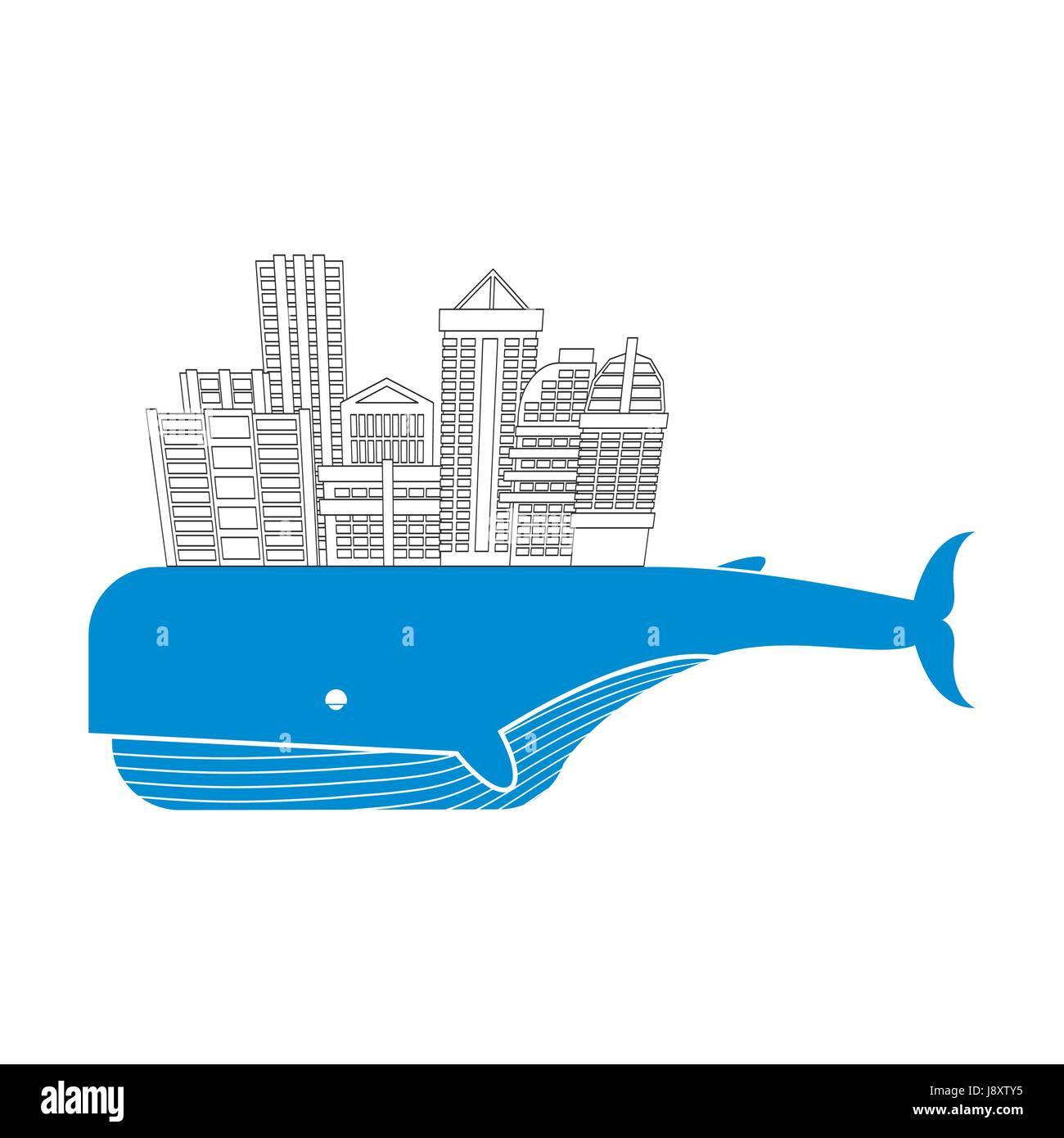 Town on whale. Water city. Modern metropolis on back of a giant blue fish. Buildings and skyscrapers. Vector Logo - Stock Vector