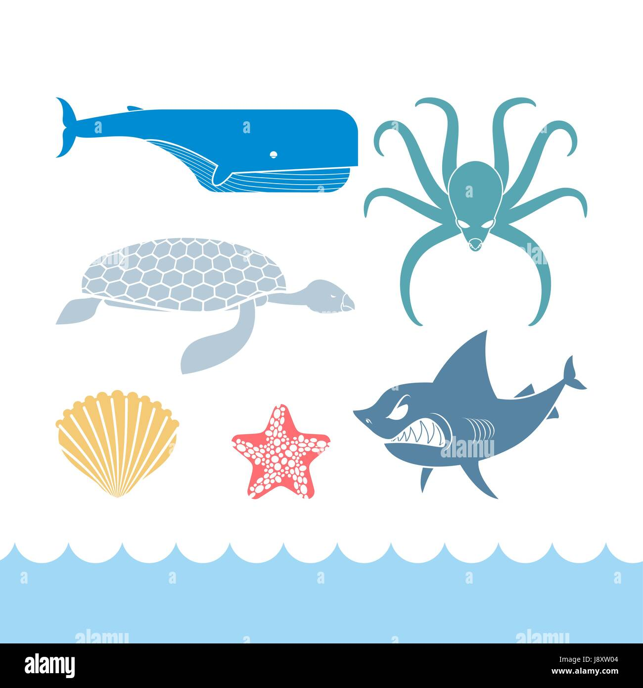 Underwater World Set flat icons. Animals Ocean. Shark and octopus. Tortoise and whale. Starfish and scallop. Stock - Stock Vector