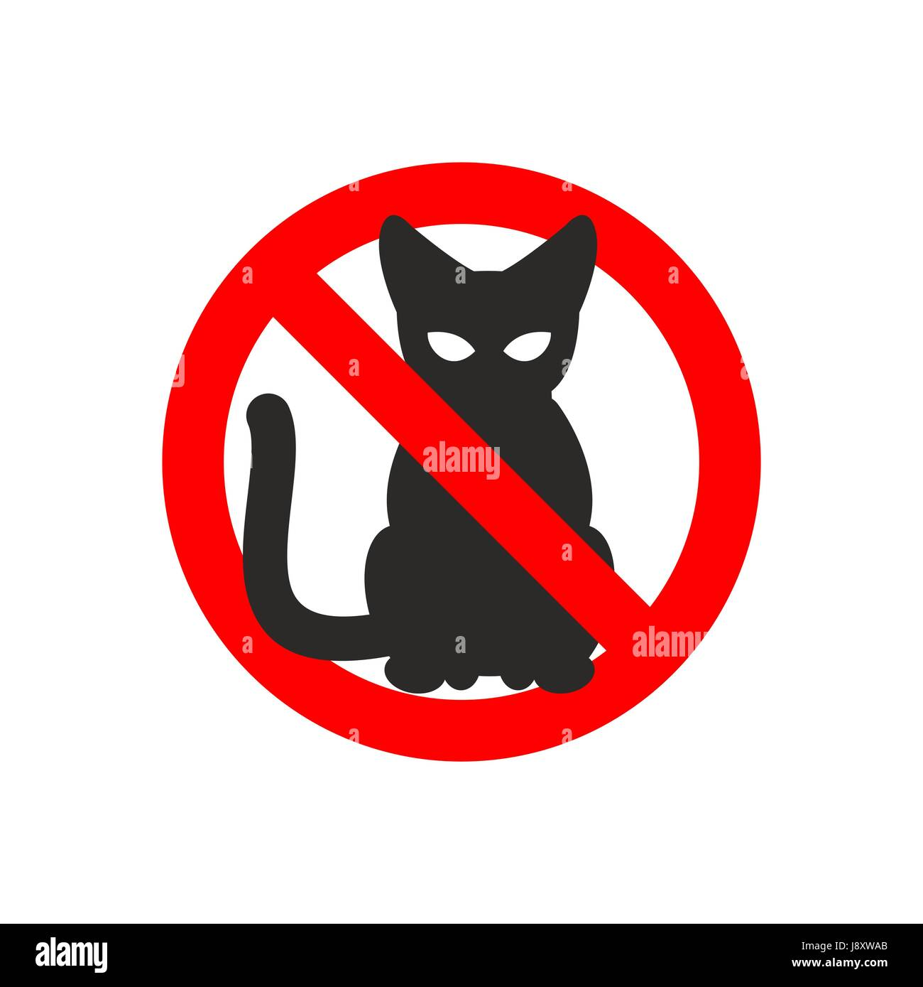 Stop cat. Vector sign No cats. Ban pet. Black cat silhouette. Sign ban slashed red circle - Stock Image