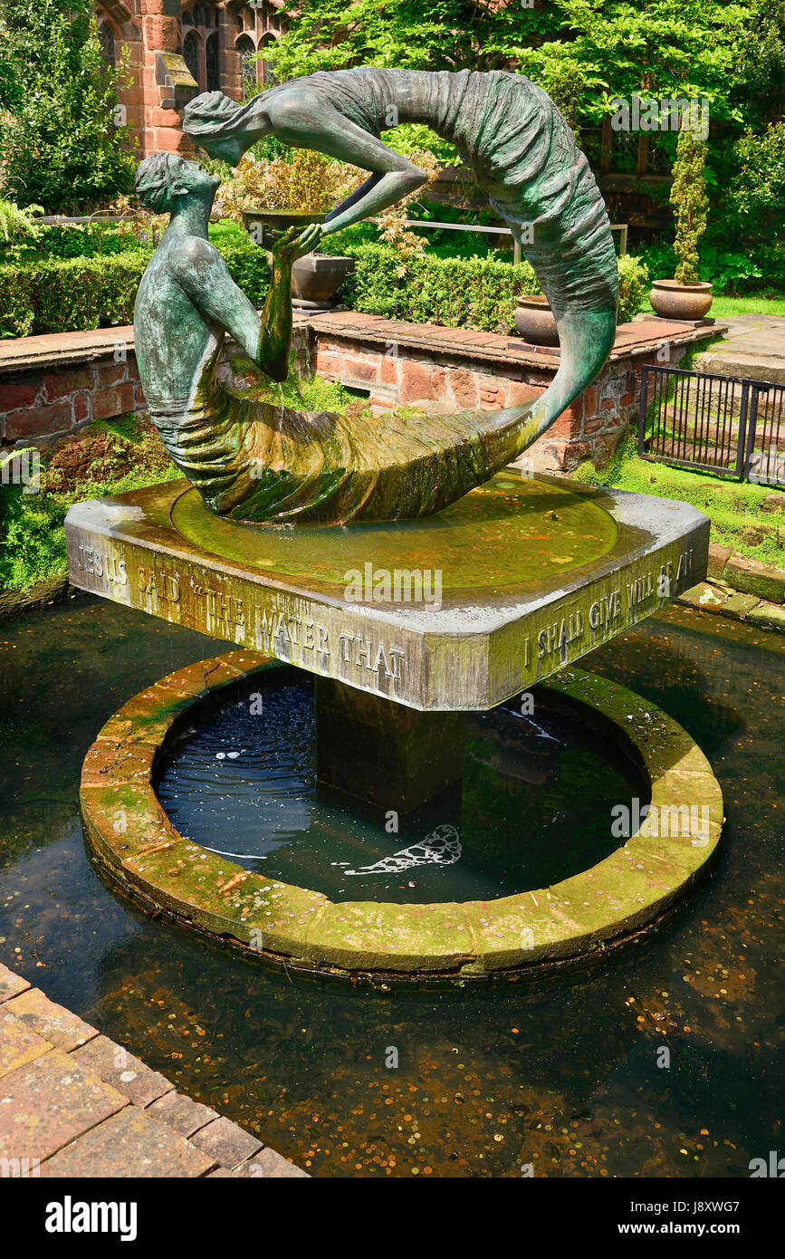 England, Cheshire, Chester Cathedral, The  Water of Life sculptural feature that presents the life changing encounter - Stock Image