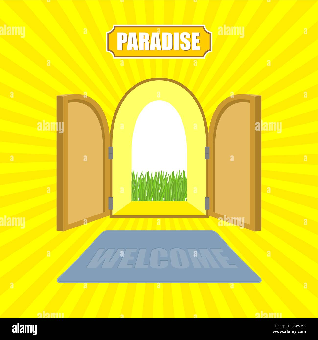 Open front door illustration Closed Open Gates Of Paradise Gardens Mat In Front Of Door Von Glow Solar Entrance To God Vector Illustration On Religious Topics Alamy Welcome To Paradise Open Gates Of Paradise Gardens Mat In Front Of