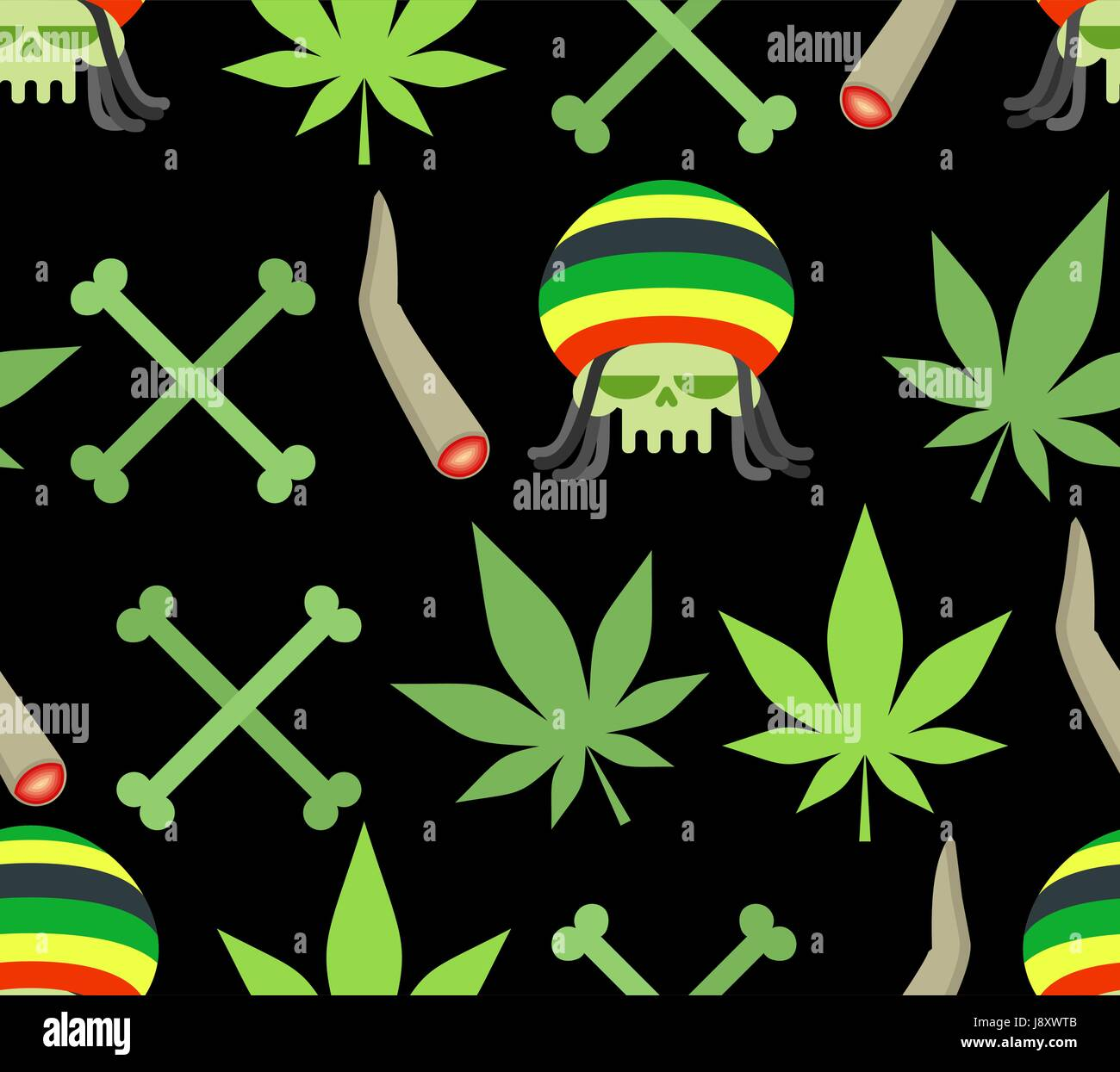 Jamaica drugs seamless pattern rasta skull and leaf cannabis spliff and bones smoking