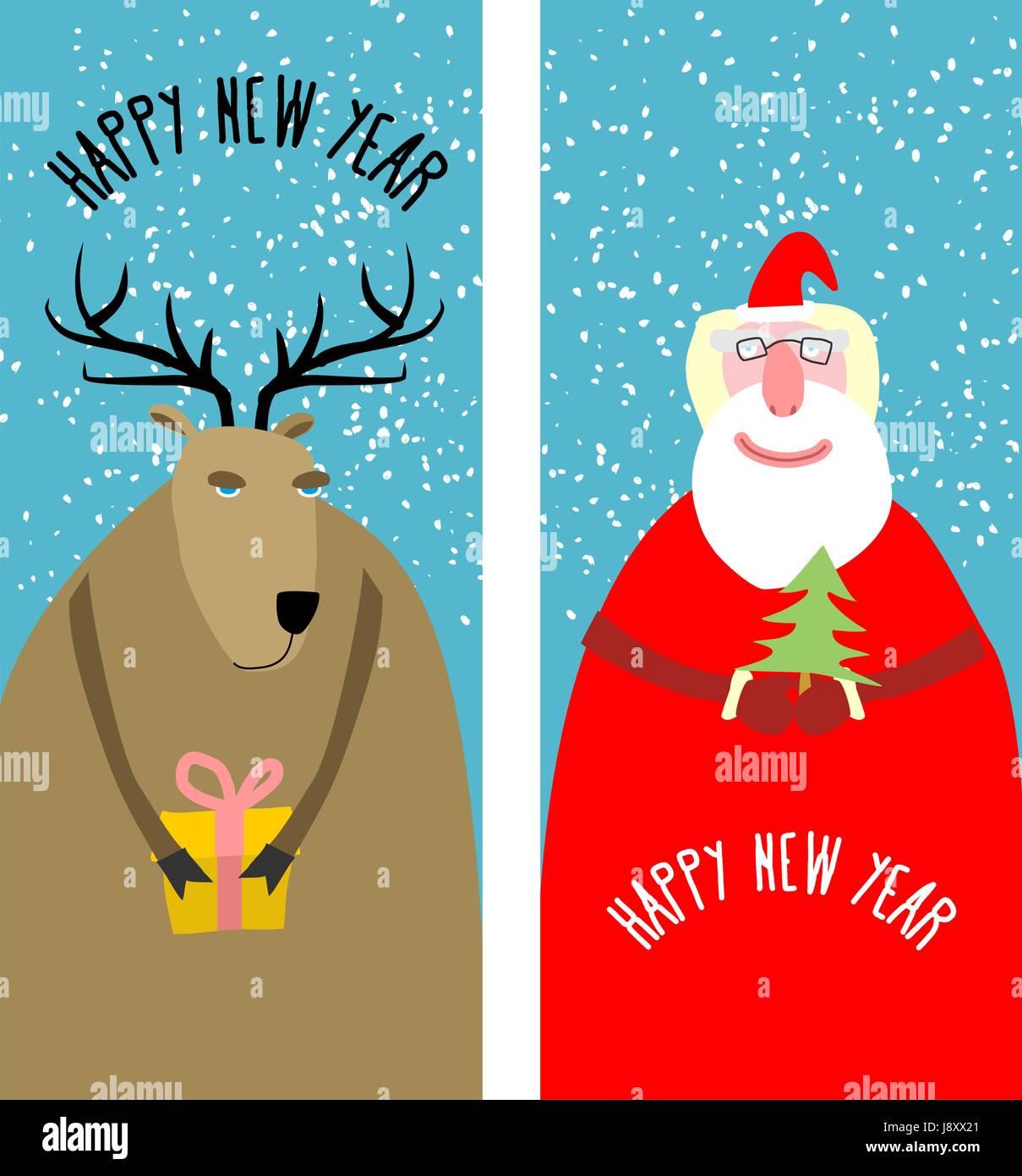 Set greeting Christmas cards. Santa Claus with Christmas tree ...