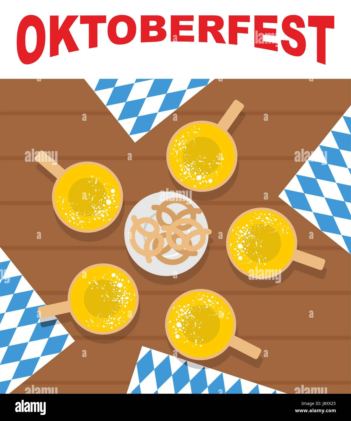 Table and beer mugs. View top. Plate with pretzels, snacks for beer. Oktoberfest. Doily ornament out of  blue. Traditional - Stock Vector