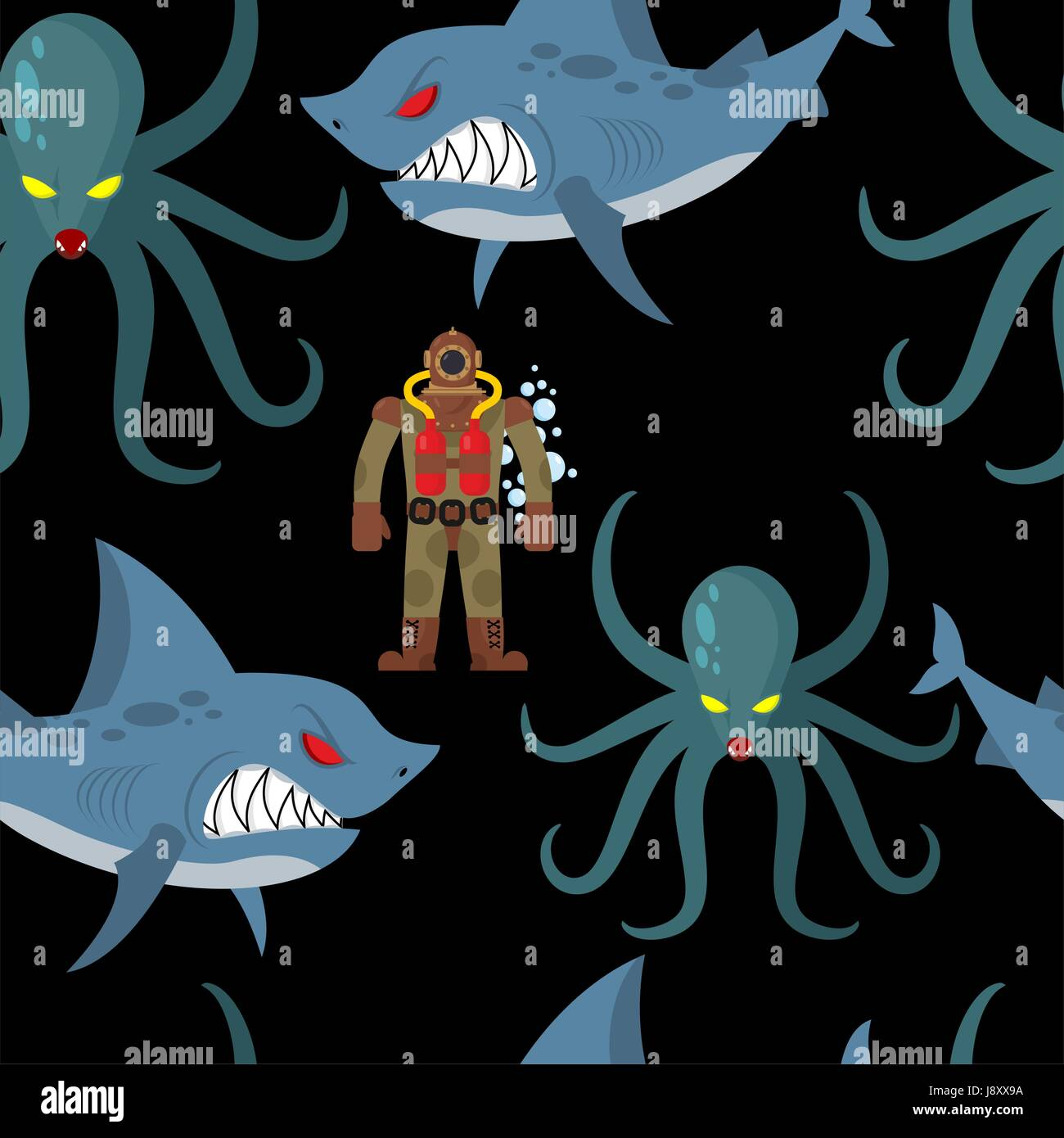Diver in old diving suit and sea monsters seamless pattern. Wicked shark and terrible octopus on black background. - Stock Vector