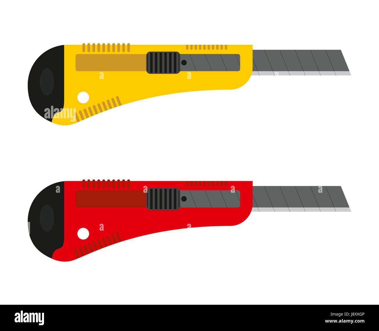 Office knife set. Stationery cutter with replaceable blades. Stock Vector