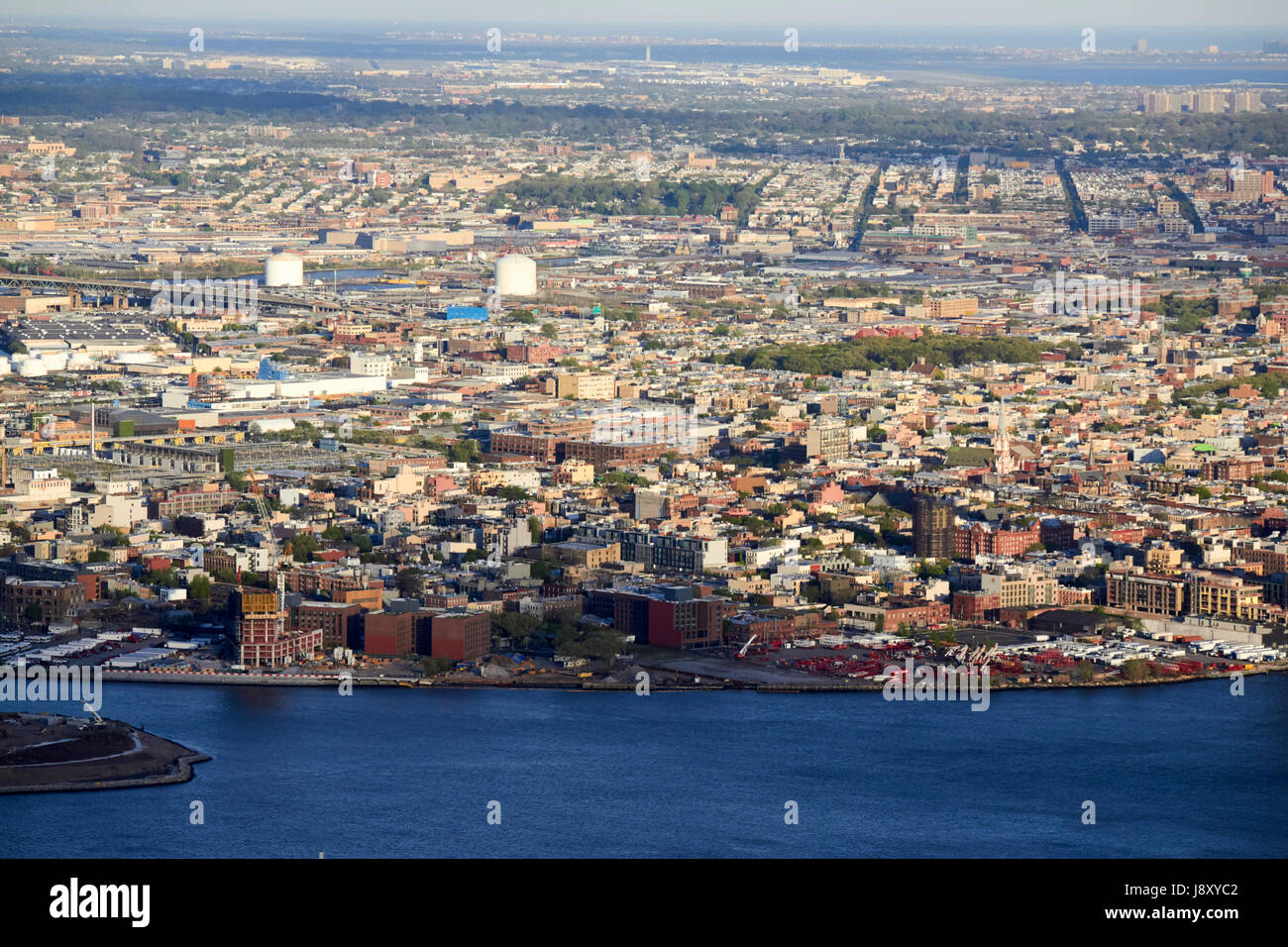 aerial view of greenpoint brooklyn New York City USA - Stock Image
