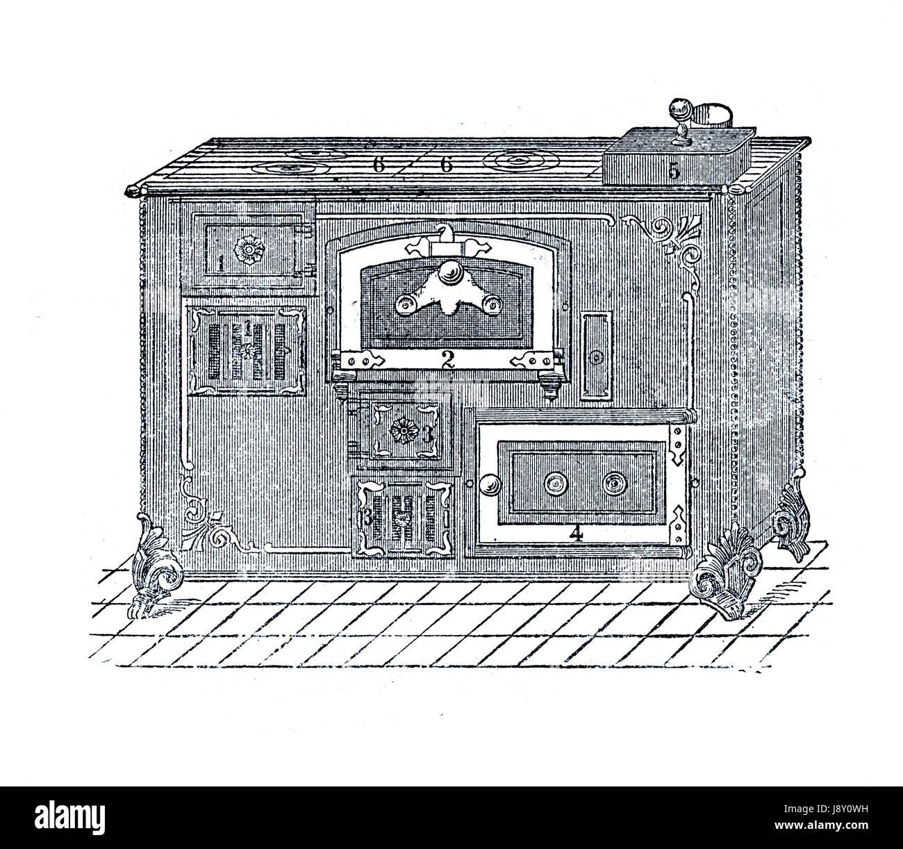 Cooking stove, vintage illustration - Stock Image