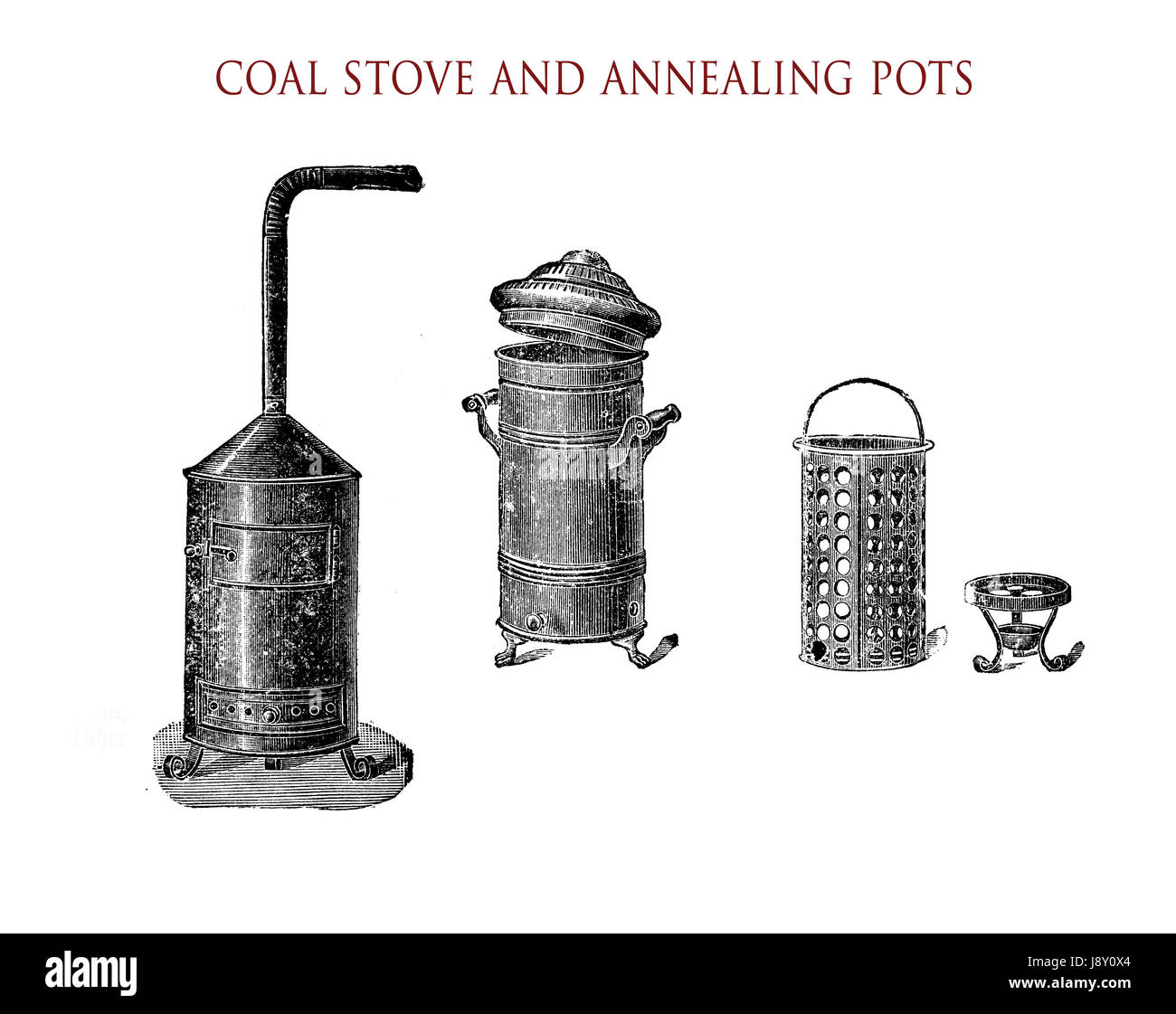 Vintage illustration, wood- or coal stove with ventpipe  and annealing pots - Stock Image