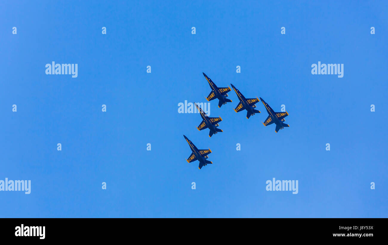 The US Navy Blue Angels, air acrobatic team at the Air National Guard Airshow in Sioux Falls, South Dakota, USA. - Stock Image