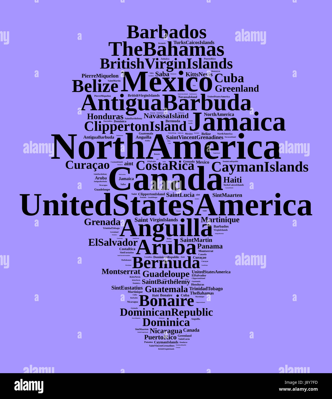 States and territories in North America word cloud concept - Stock Image