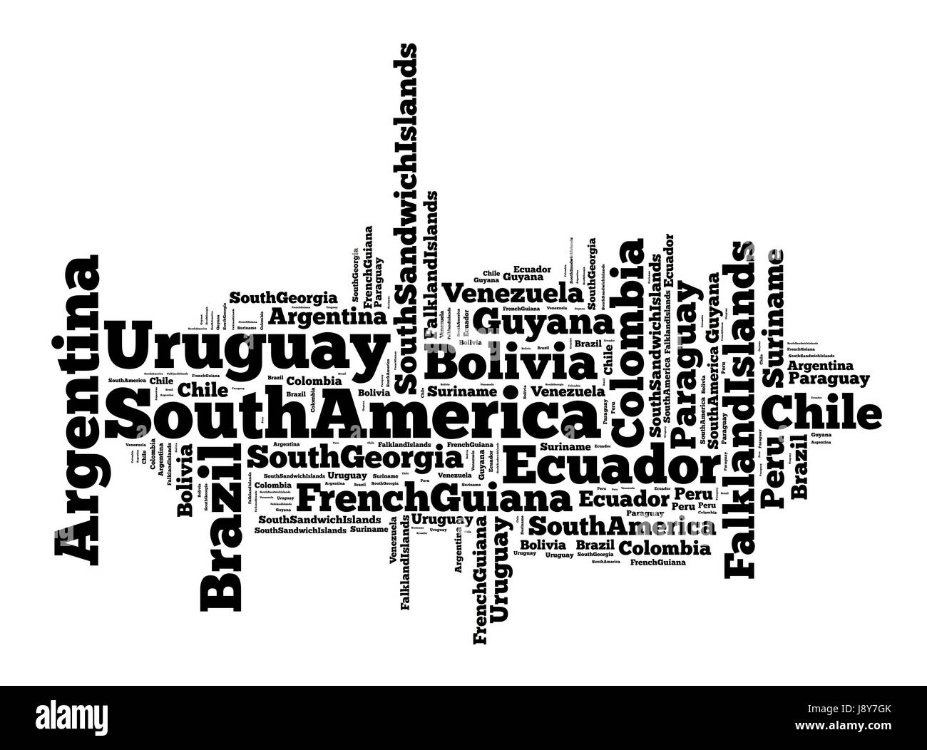 Word cloud of South American countries - Stock Image