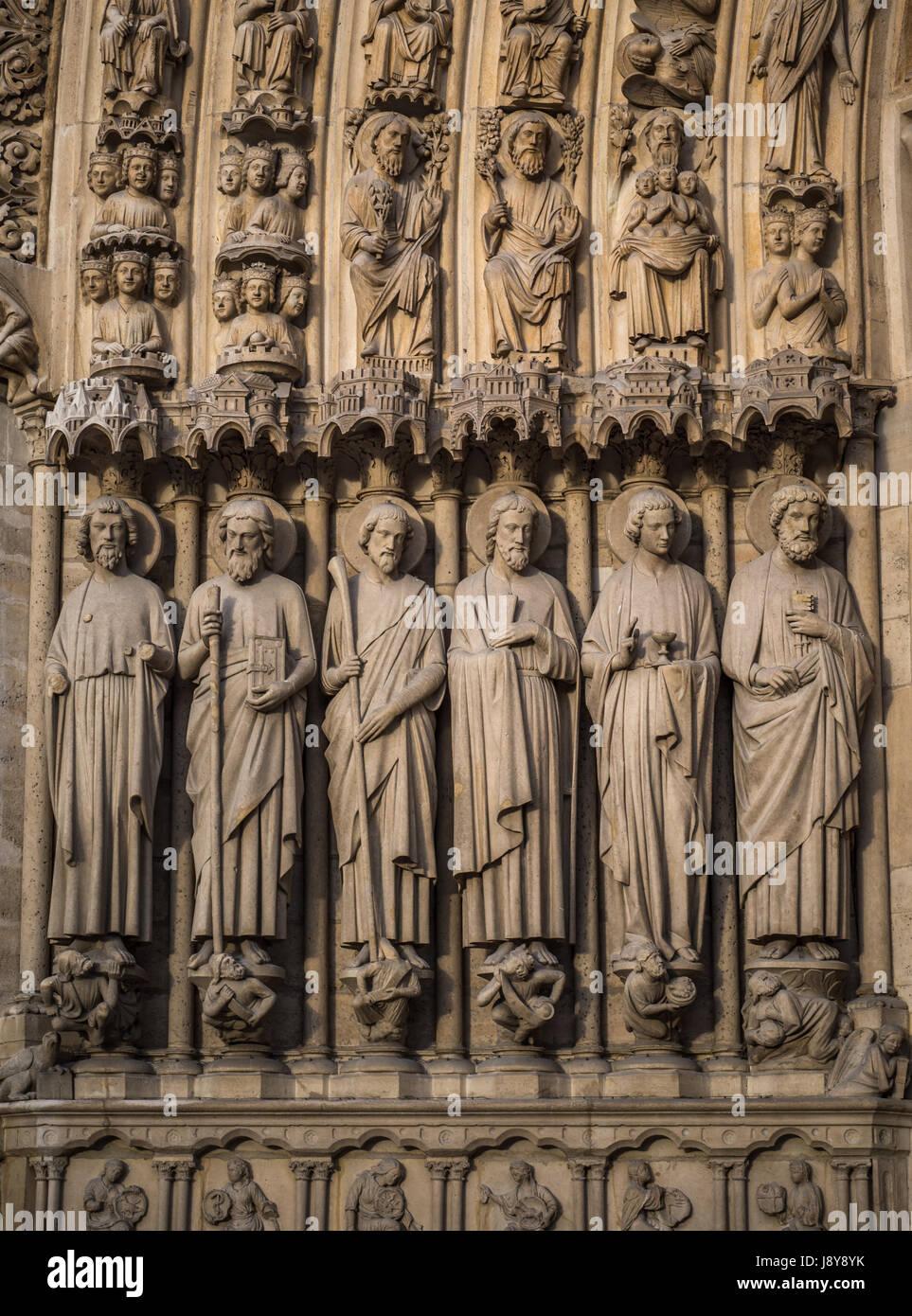 Notre-Dame de Paris, the Portal of the Judgement Stock Photo