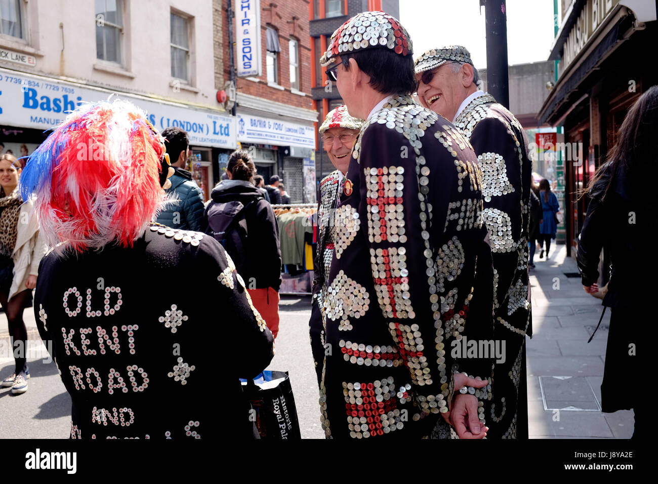 The 'Pearlies' of London. The Pearly Kings and Queens are a charitable organisation dating back to the 19th - Stock Image