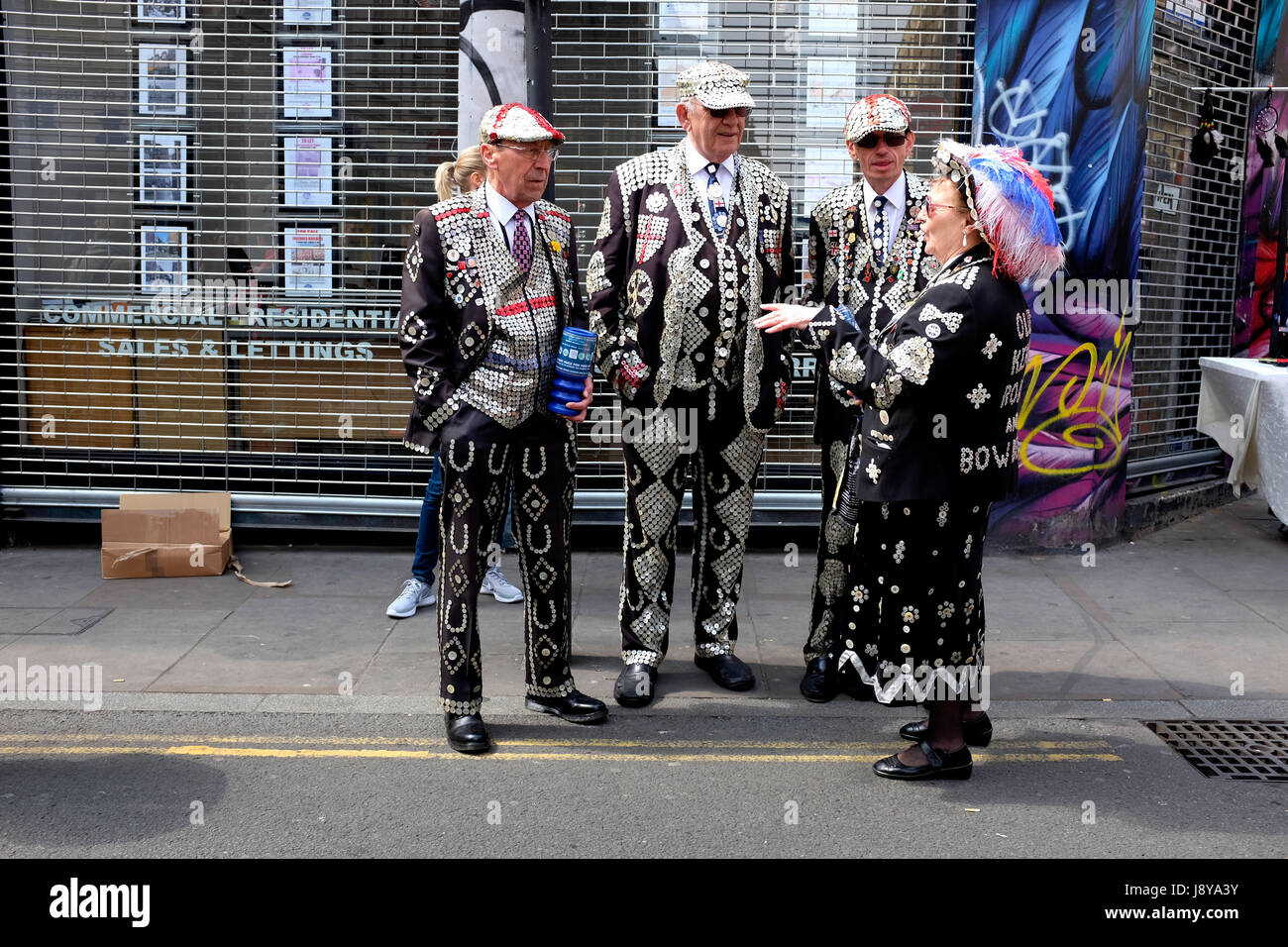 The 'Pearlies' of London. The Pearly Kings and Queens are a charitable organisation dating back to the 19th century Stock Photo