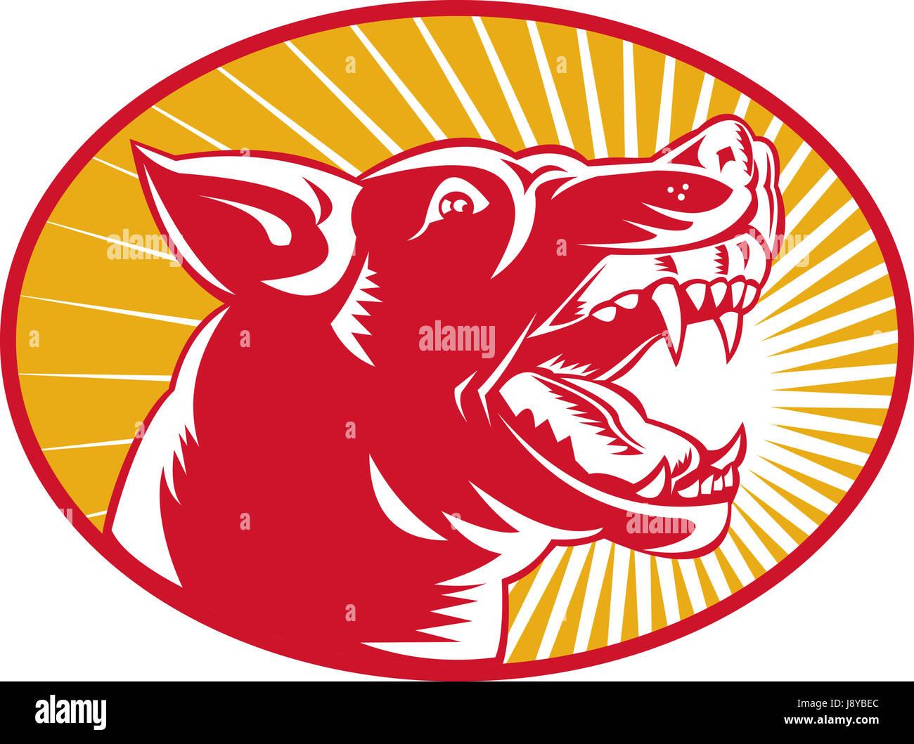 animal, wild, dog, illustration, mongrel, wolf, raving, furious, angry, - Stock Image