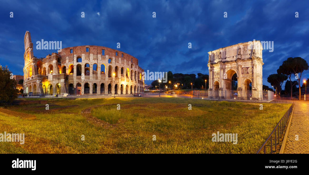 Colosseum or Coliseum at night, Rome, Italy. - Stock Image