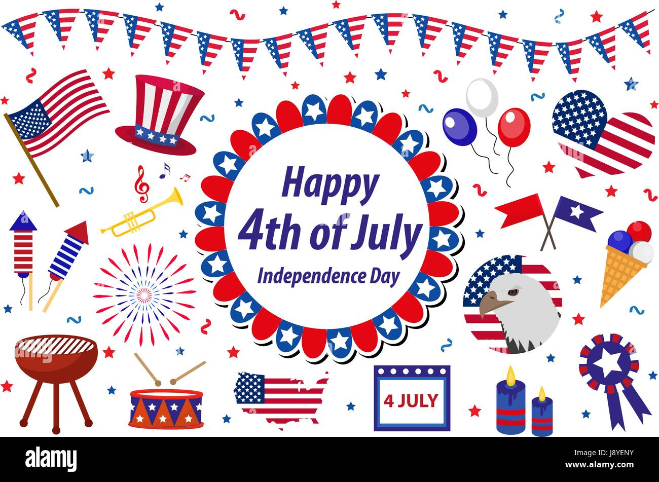 Independence Day America celebration in USA, icons set, design element, flat style. Collection objects for July Stock Vector