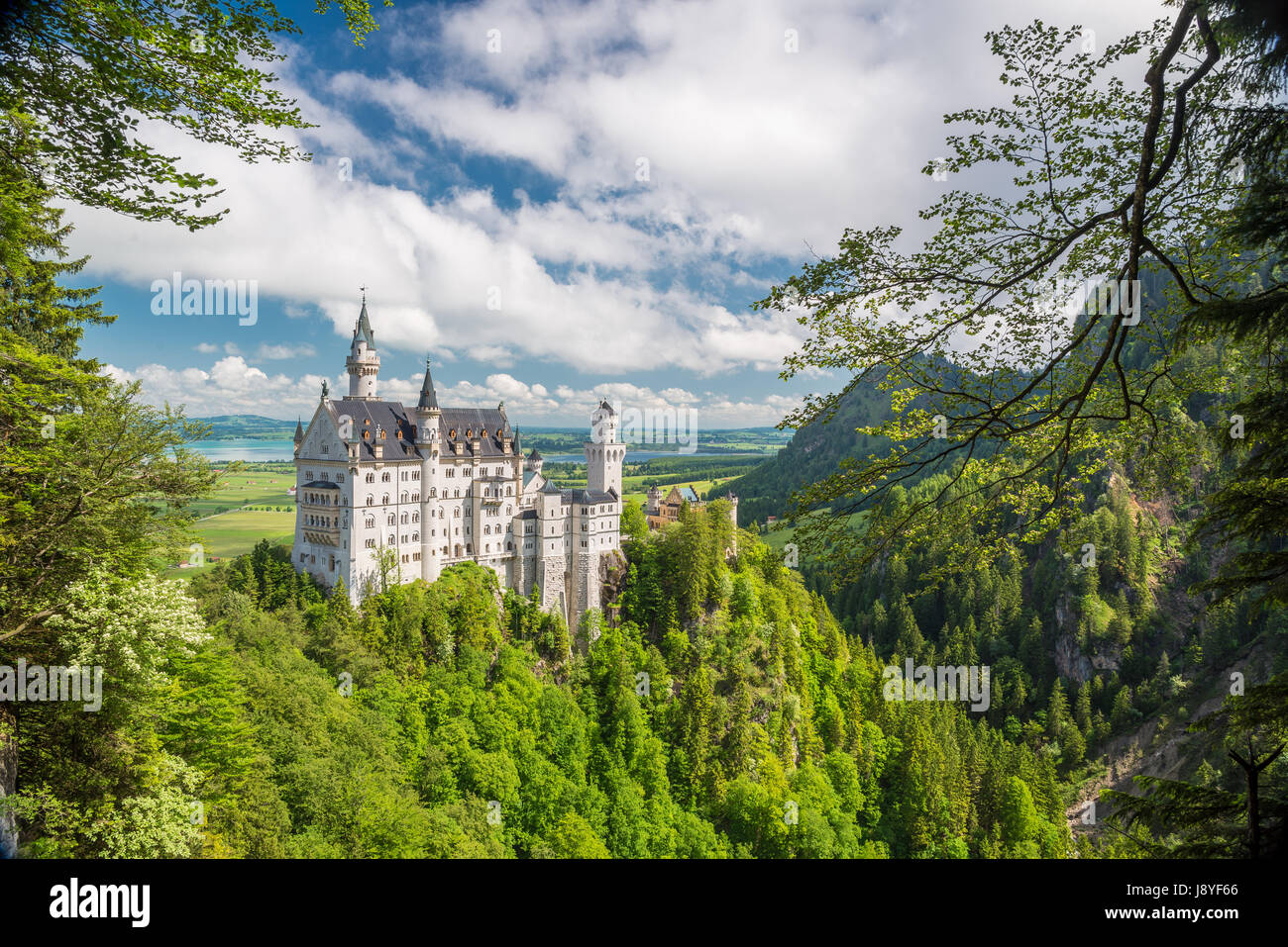Picturesque landscape with the Neuschwanstein Castle. Germany. - Stock Image